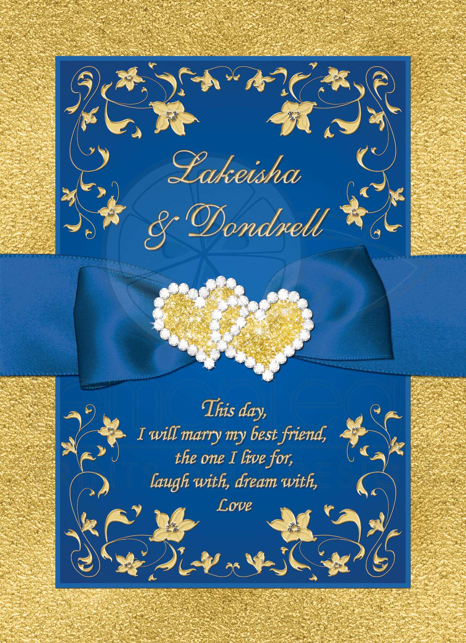 Wedding Invitation Royal Blue Faux Gold Foil Fl Printed Ribbon Bow Double Hearts
