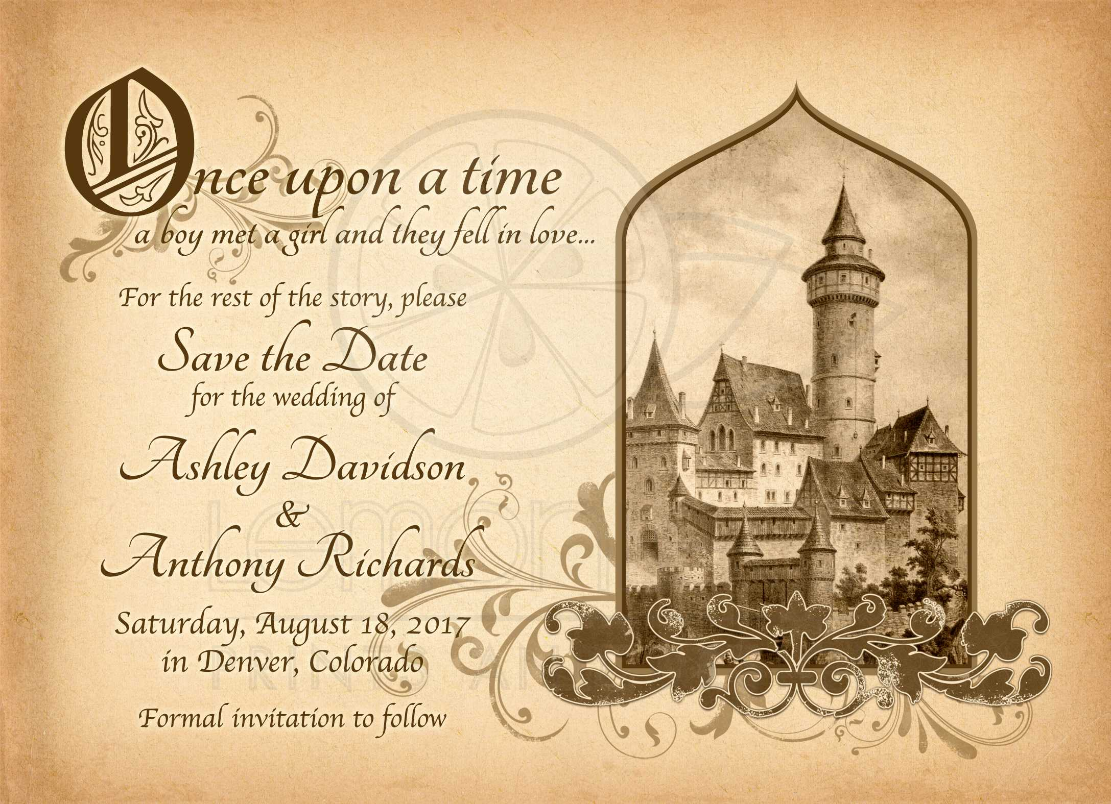 Fairy Tale Castle Wedding Save the Date Medieval Once Upon A Time