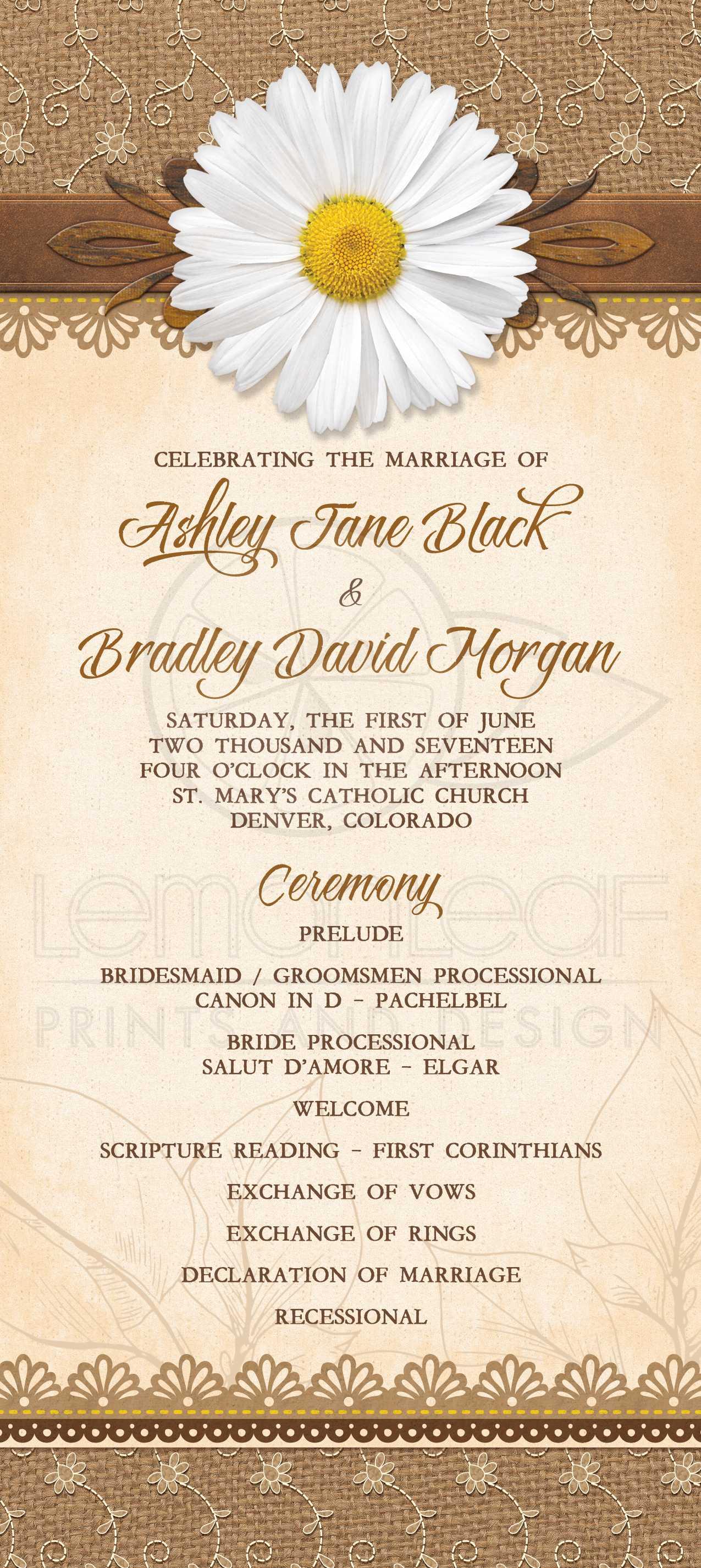 rustic daisy burlap lace wood wedding program