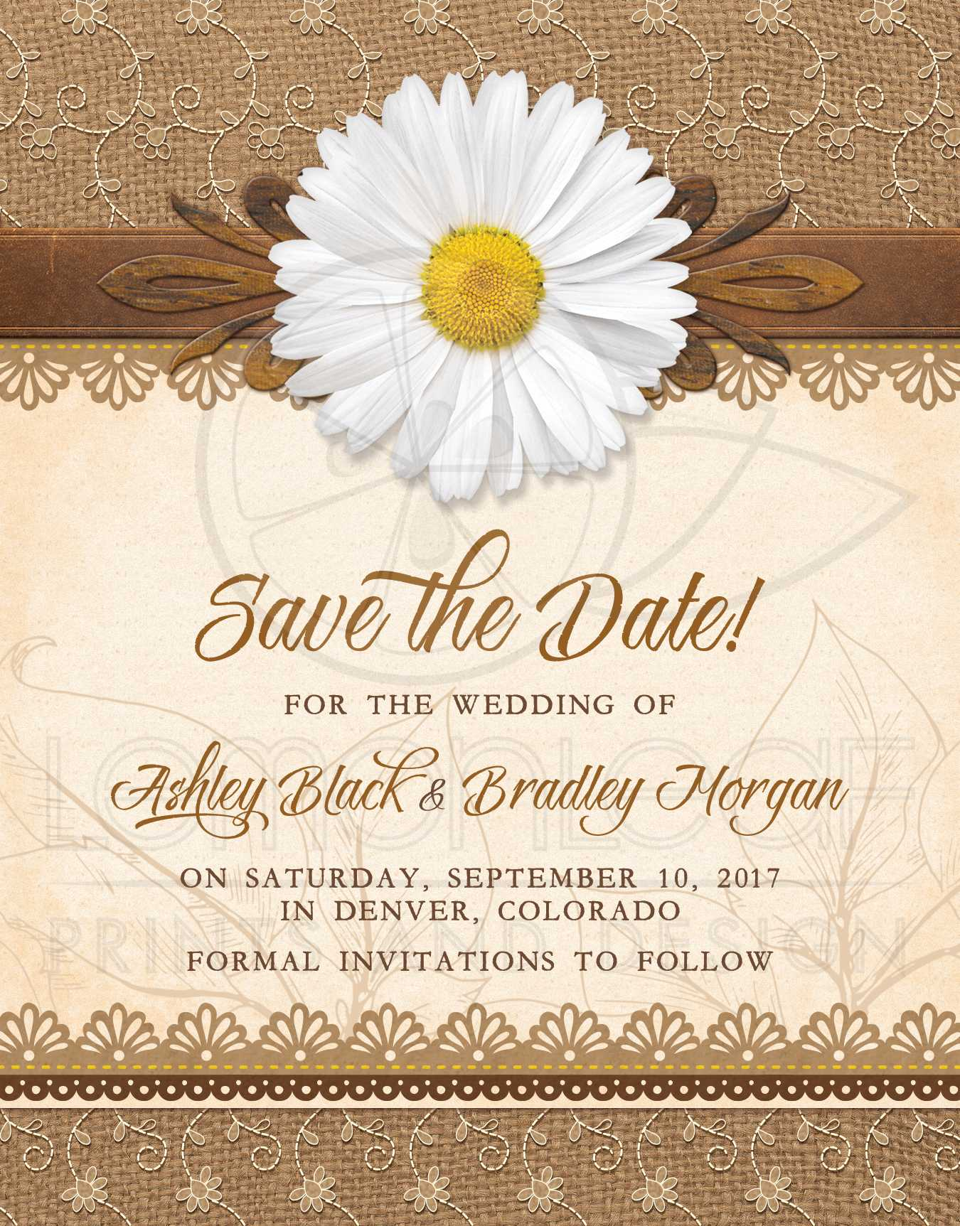 Rustic Daisy Wedding Save the Date Burlap Lace Wood