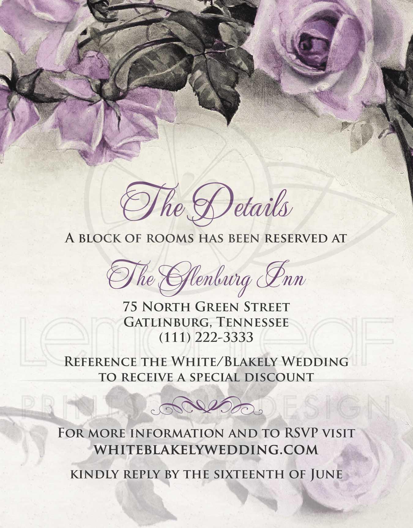 Vintage Mauve Purple Rose Wedding Details Card