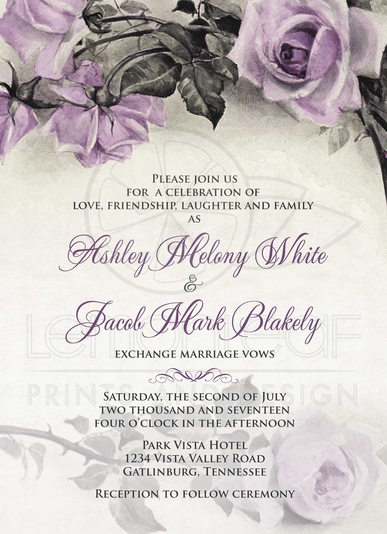 Vintage Mauve Purple Rose Wedding Invitation