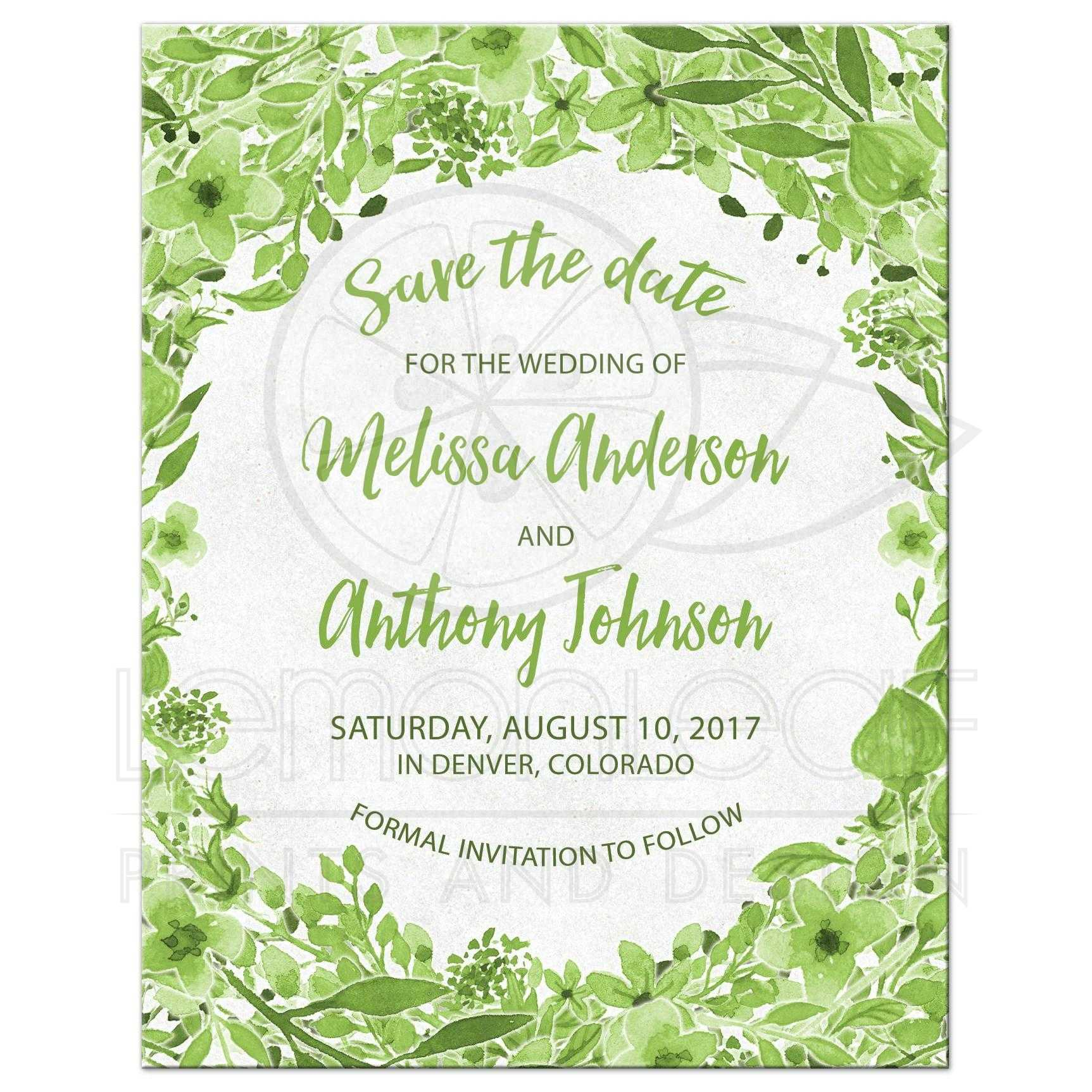 Greenery Botanical Wedding Save the Date Green White Watercolor