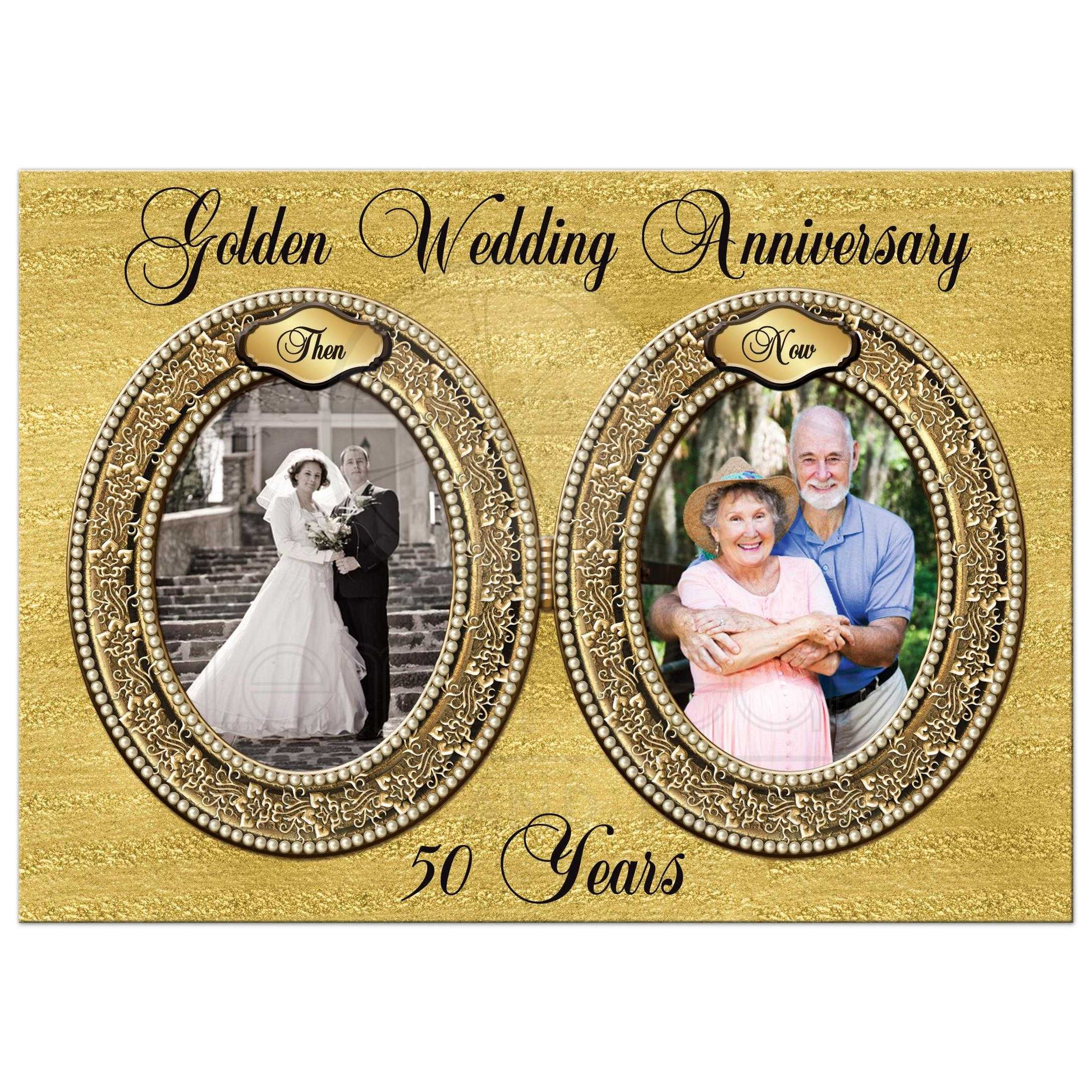 Double Photo Template Golden Wedding Anniversary Invitation Faux