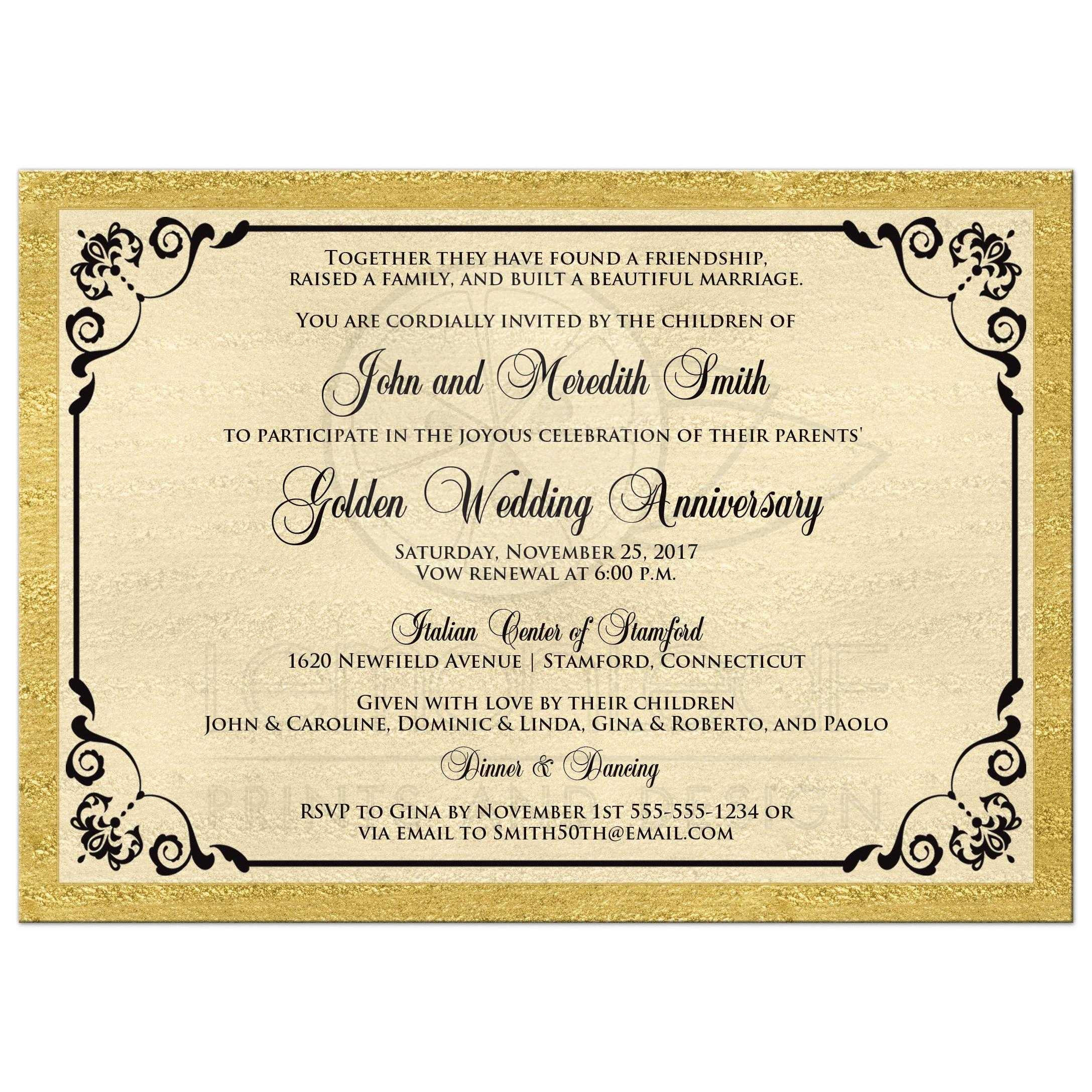 Double PHOTO Template Golden Wedding Anniversary Invitation | FAUX ...