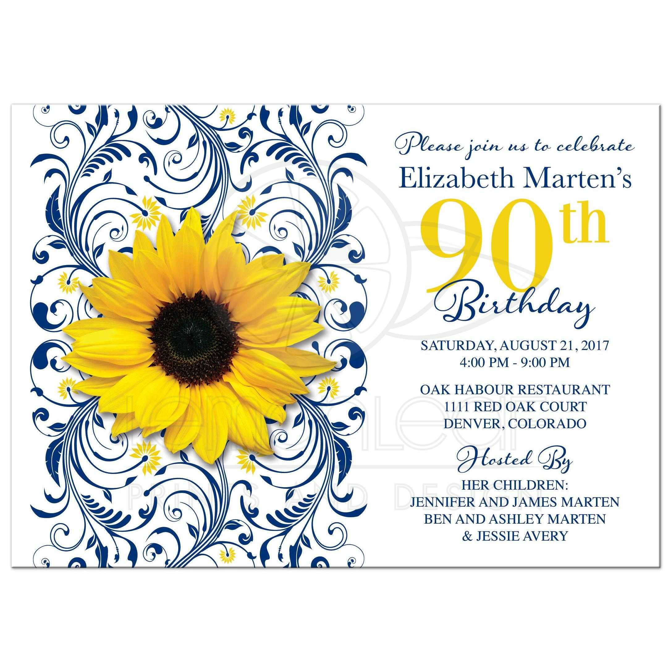 Sunflower 90th birthday invitation navy blue floral – 90th Birthday Invitation Cards