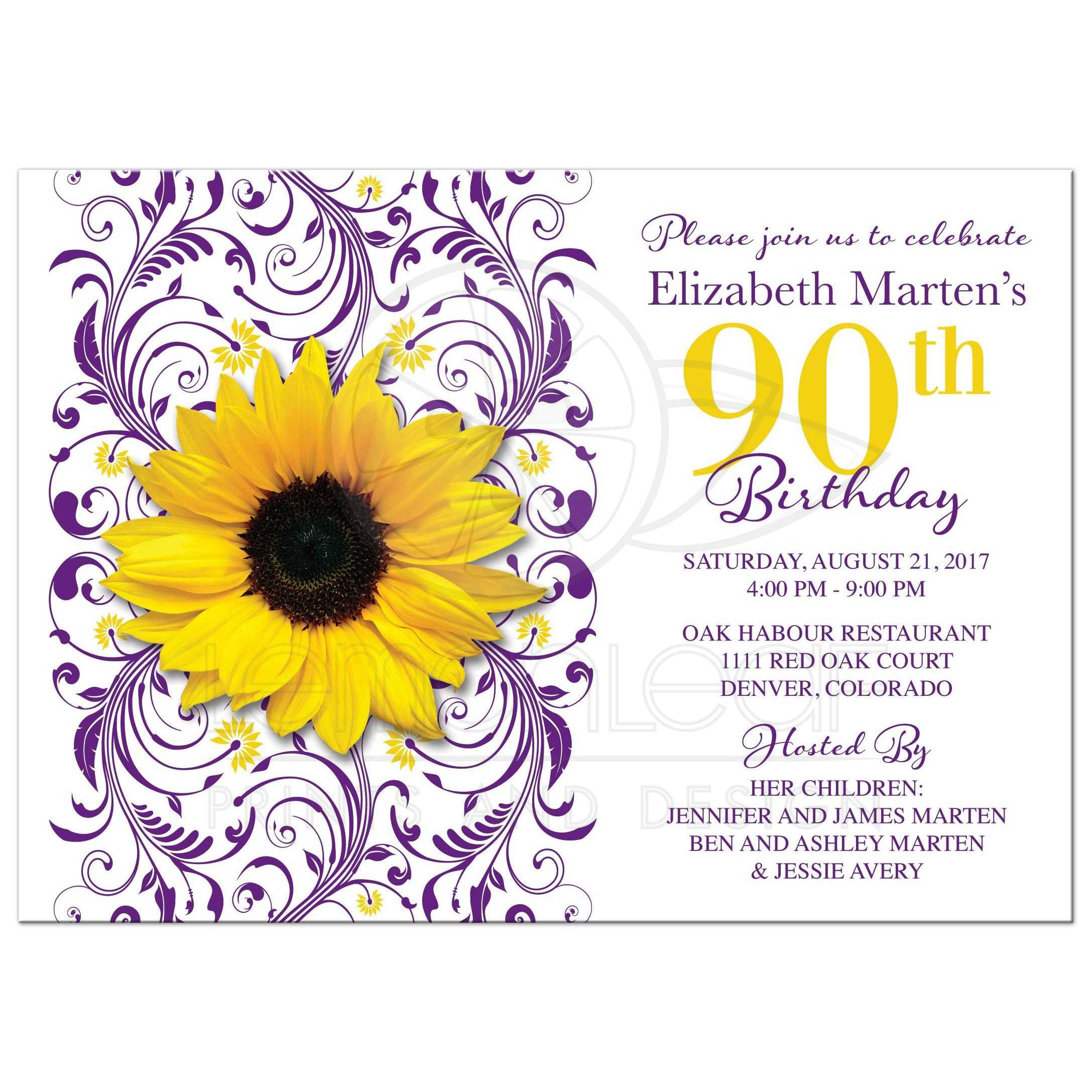 Purple Floral Yellow Sunflower Flower 90th Birthday Invitation Front