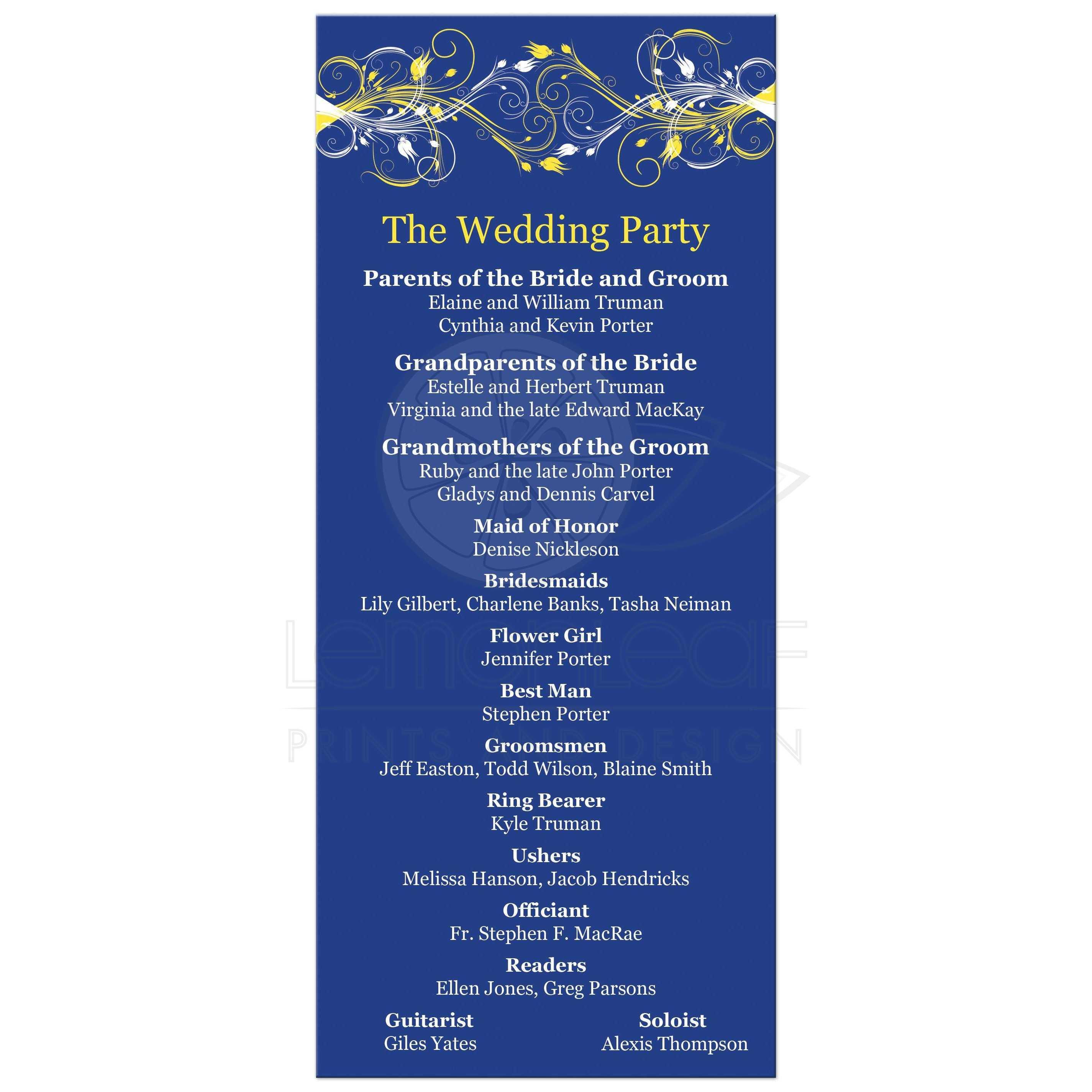 Wedding Ceremony Order DIY