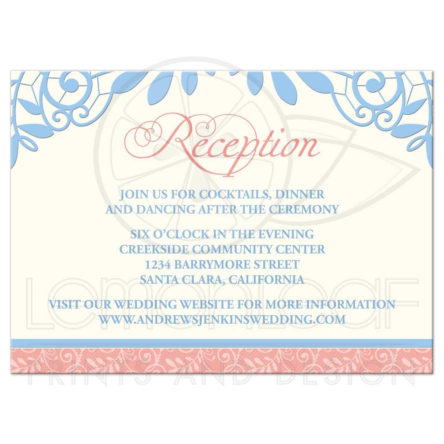 Coral Powder Blue Lace Wedding Reception Card