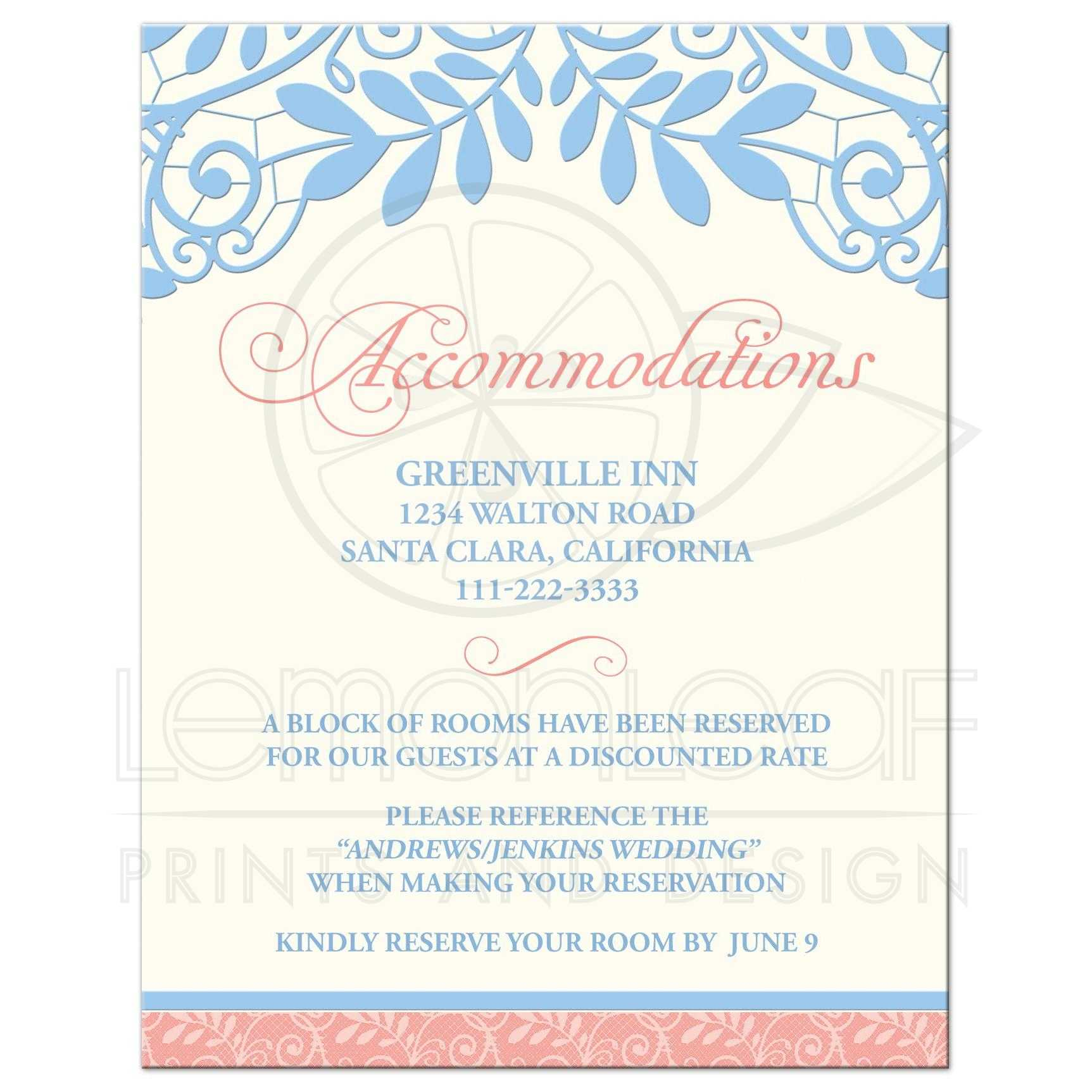 Coral Powder Blue Lace Wedding Accommodations Card