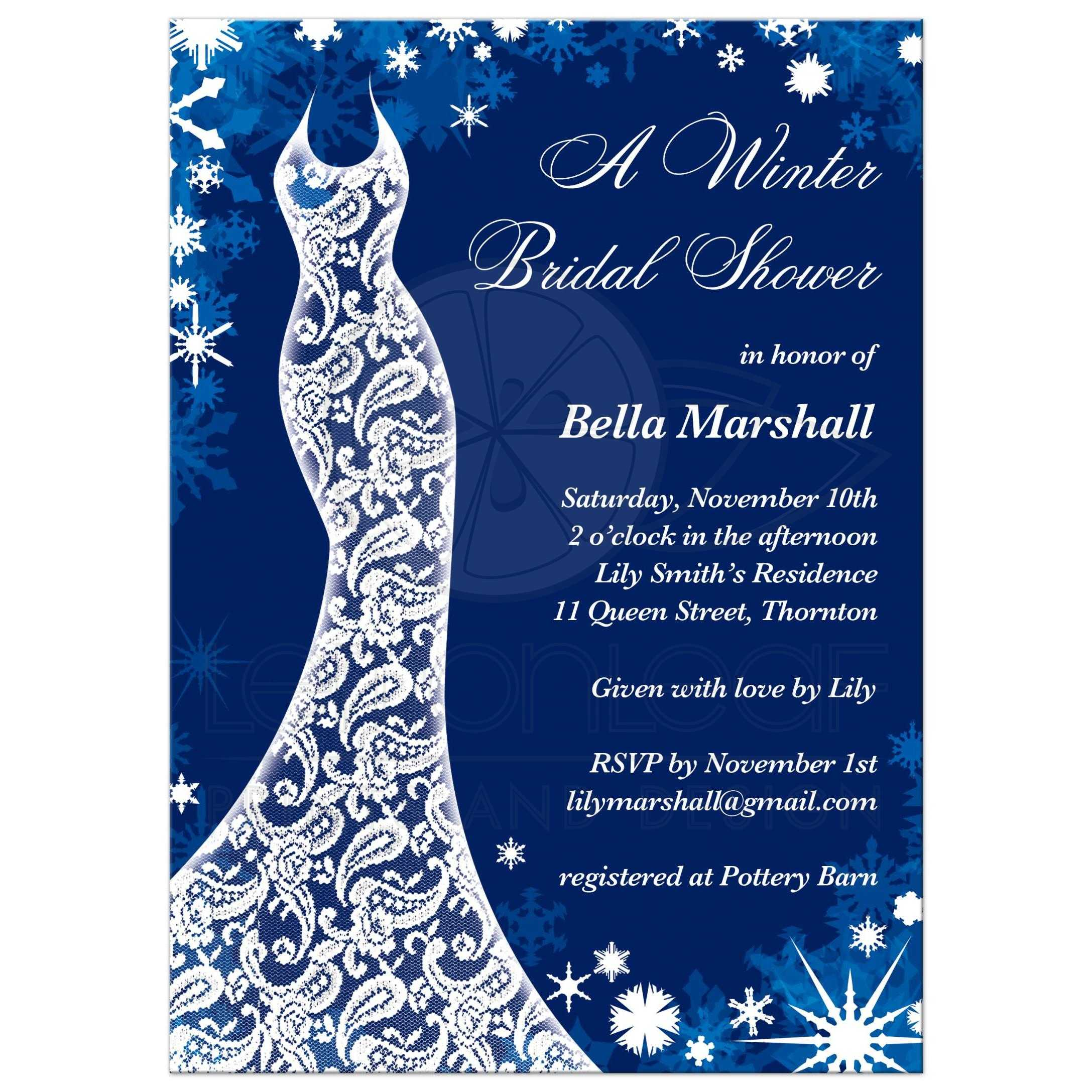 Bridal shower invitation beautiful winter in navy blue this winter bridal shower invitation is decorated with delicate snowflakes and a lacy wedding dress on filmwisefo Images