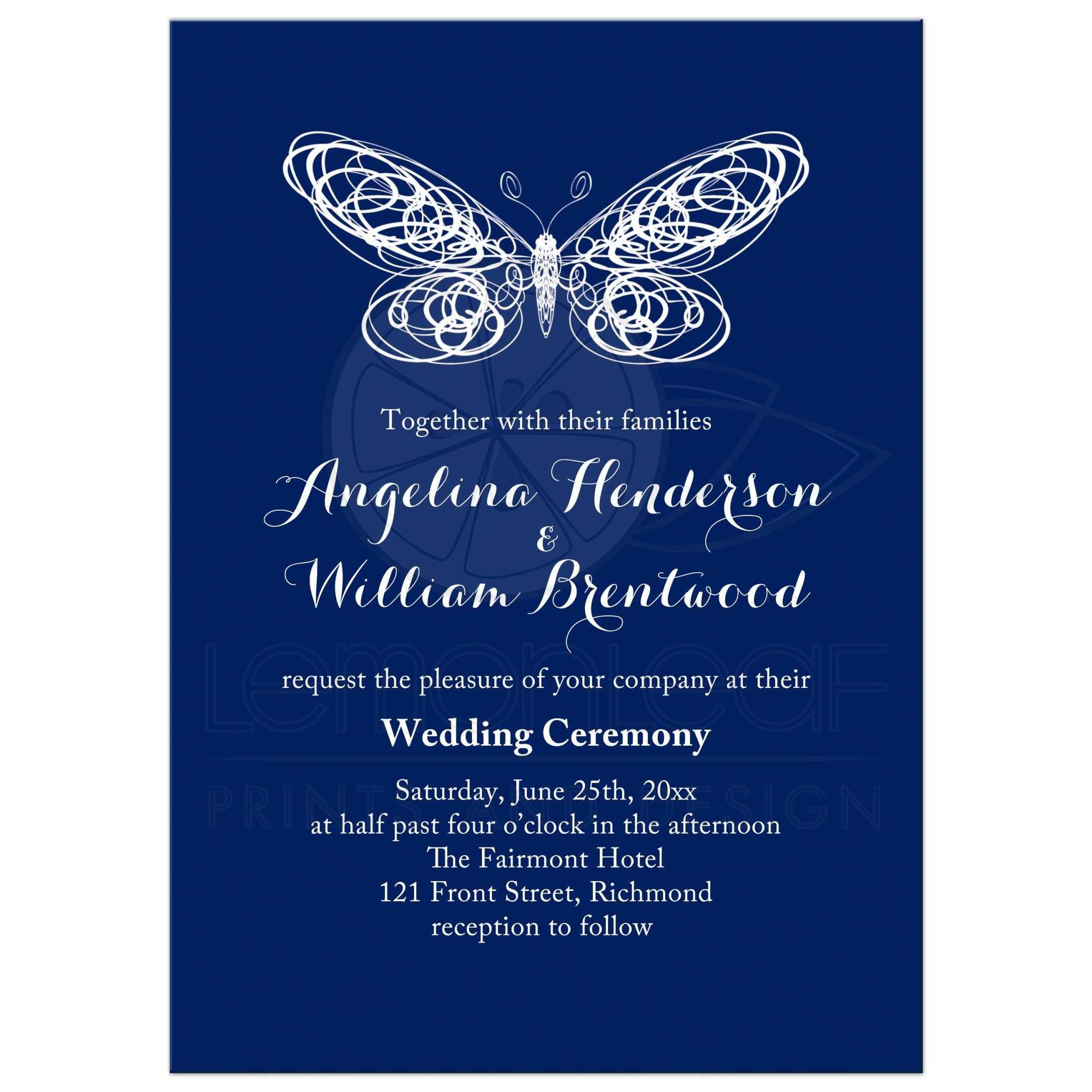 Wedding Invitation - Navy Blue Butterfly