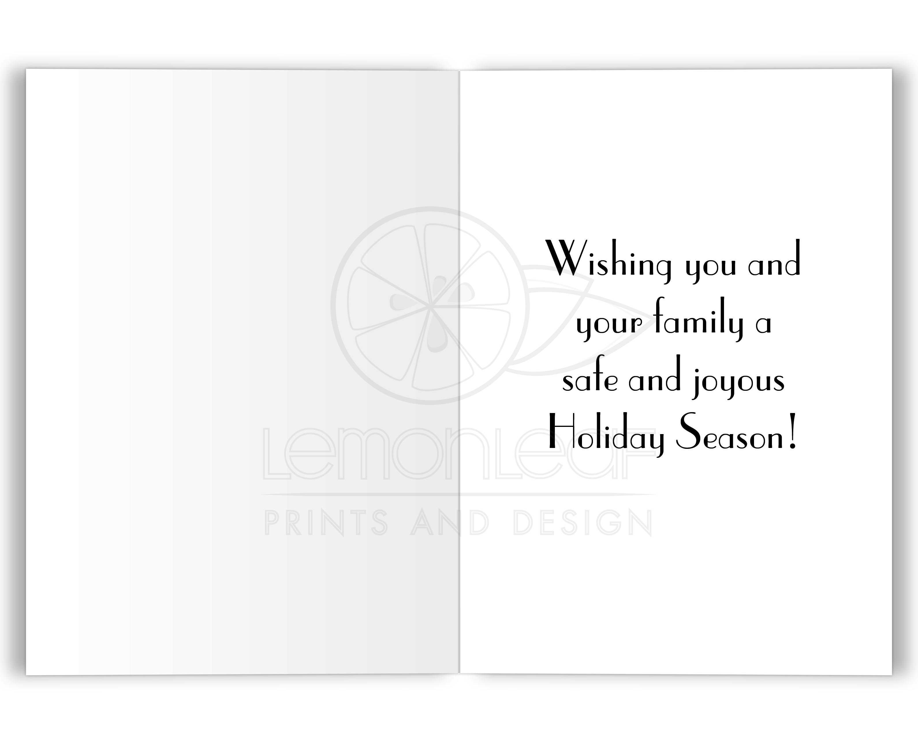 Holiday Card Seasons Greetings Snowflake On Navy Blue 5x7