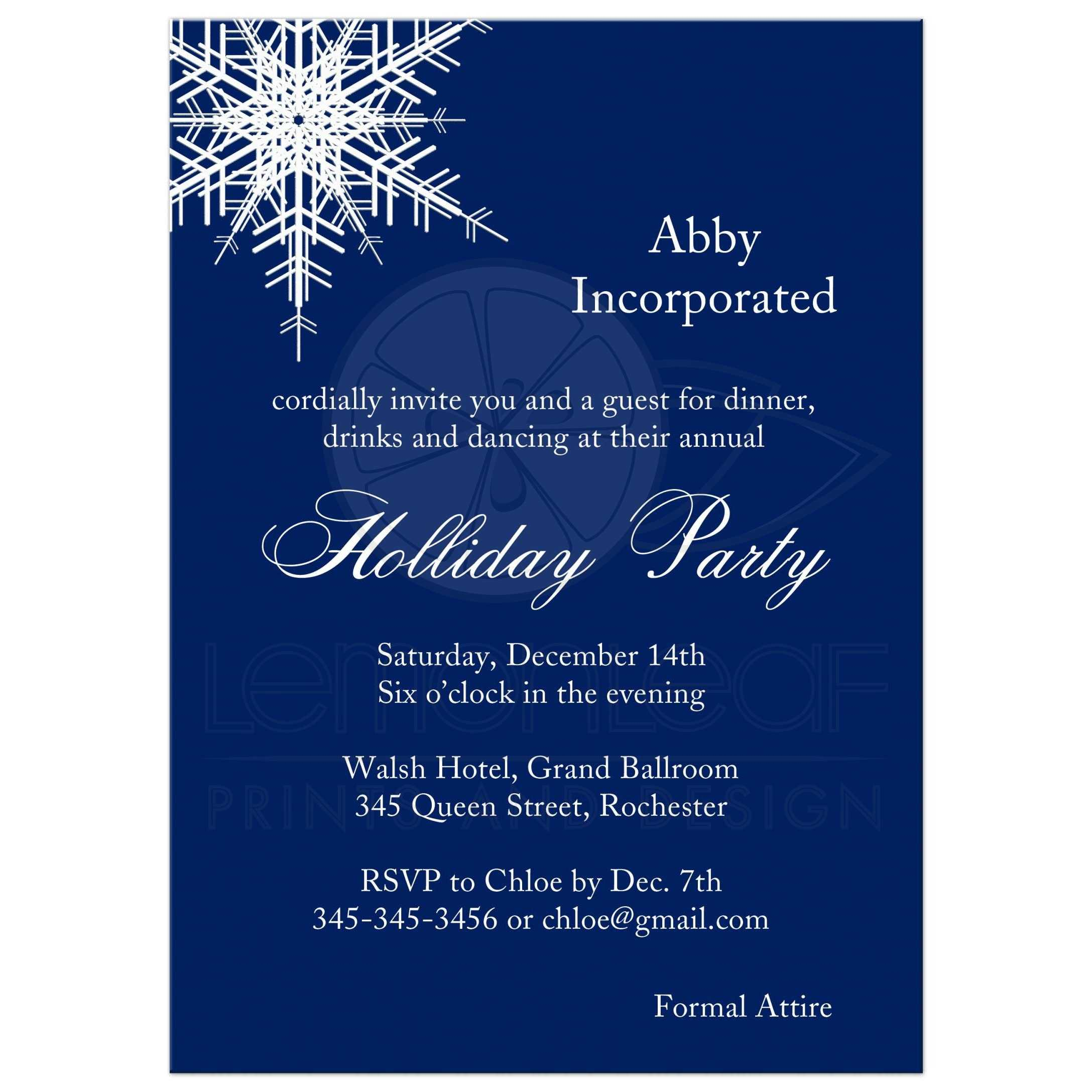 Corporate Christmas Party Idea: Offset Snowflake In Navy Blue