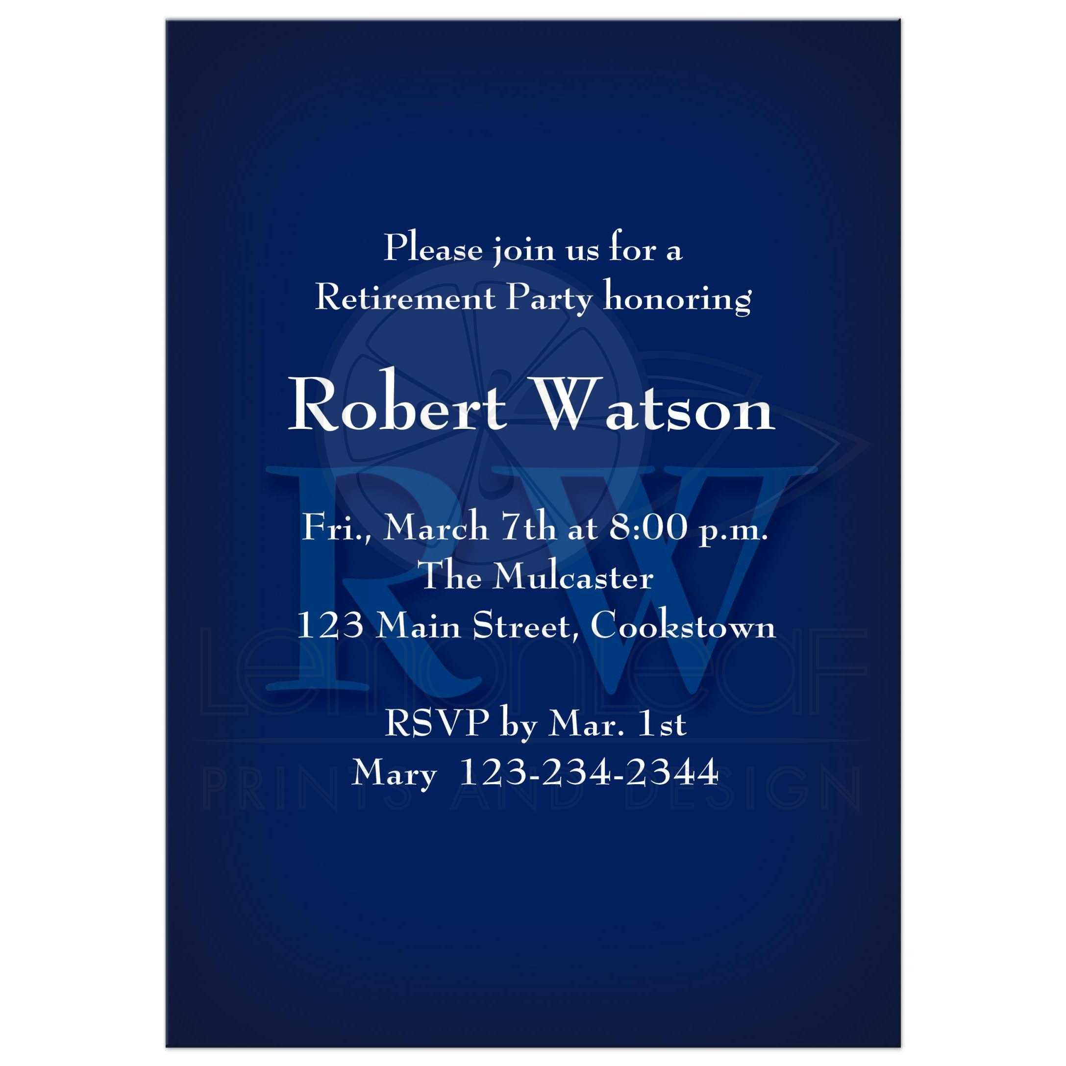retirement party invitation classic monogram blue