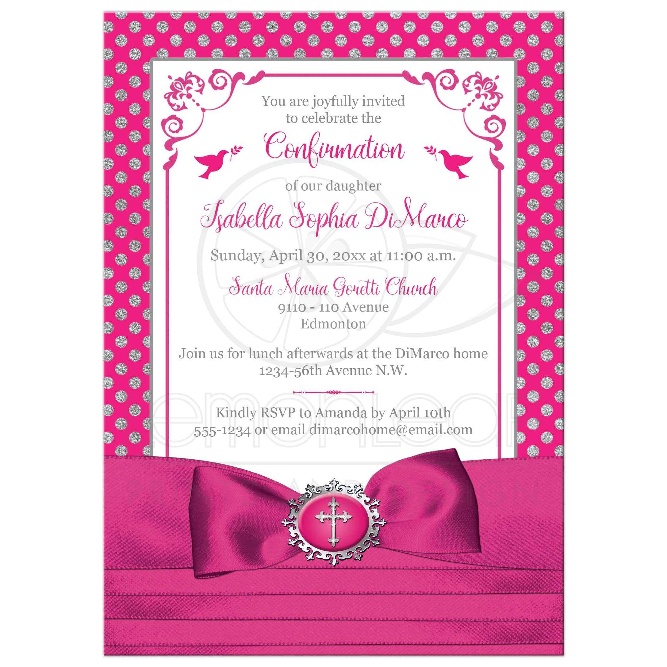 Fuchsia pink white silver polka dots confirmation invitation fuchsia pink silver grey white polka dots confirmation invite with ribbon bow stopboris Gallery