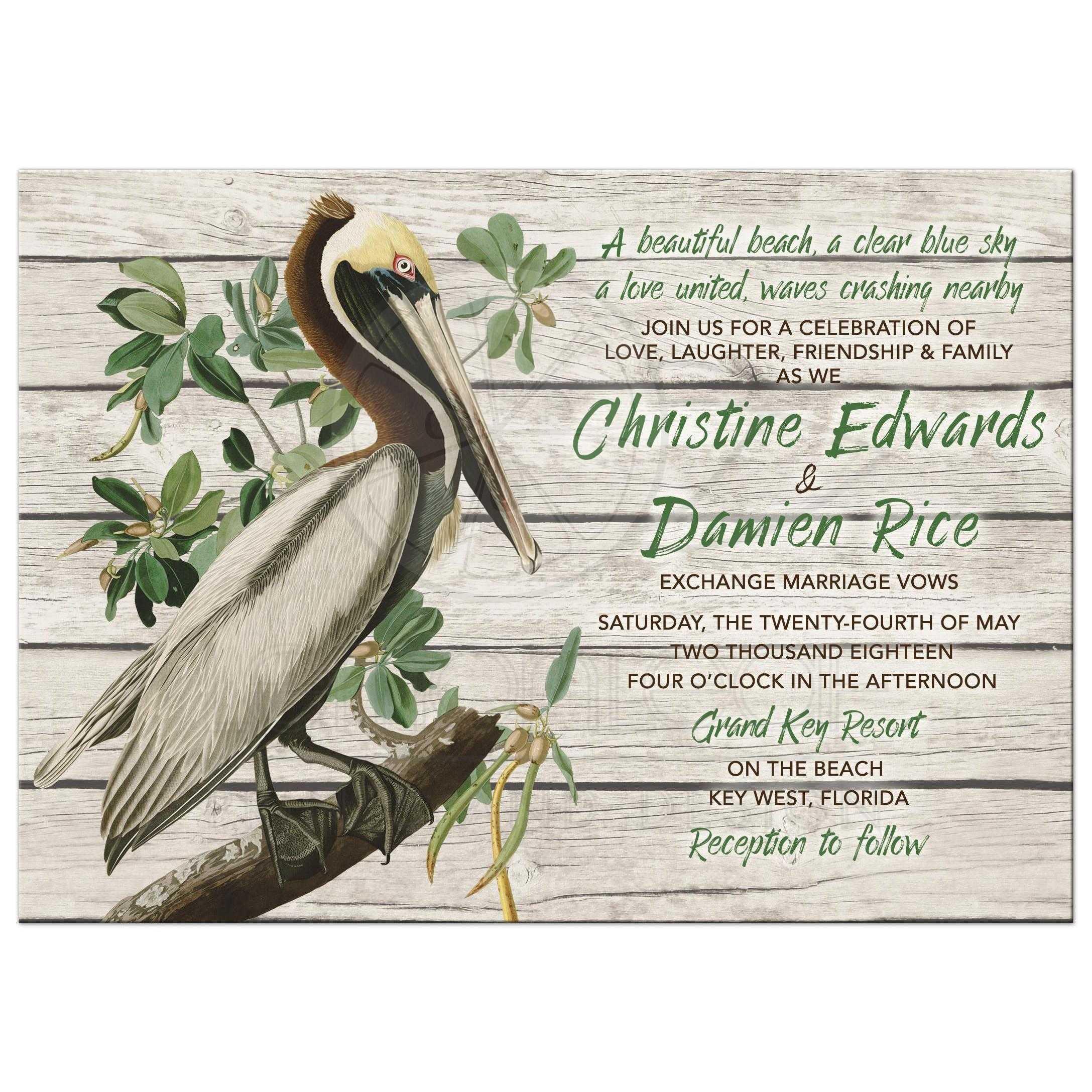 Vintage Beach Wedding Invitations: Rustic Pelican Destination Or Beach Wedding Invitation