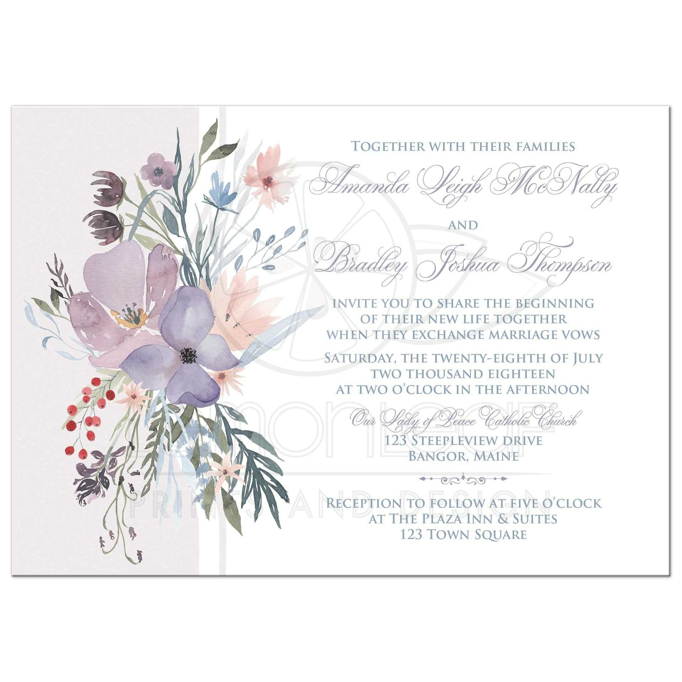 Watercolor Wildflowers Wedding Invitation Has A Beautiful Array Of And Greenery In Shades Smokey: Lavender And Purple Wedding Invite At Websimilar.org