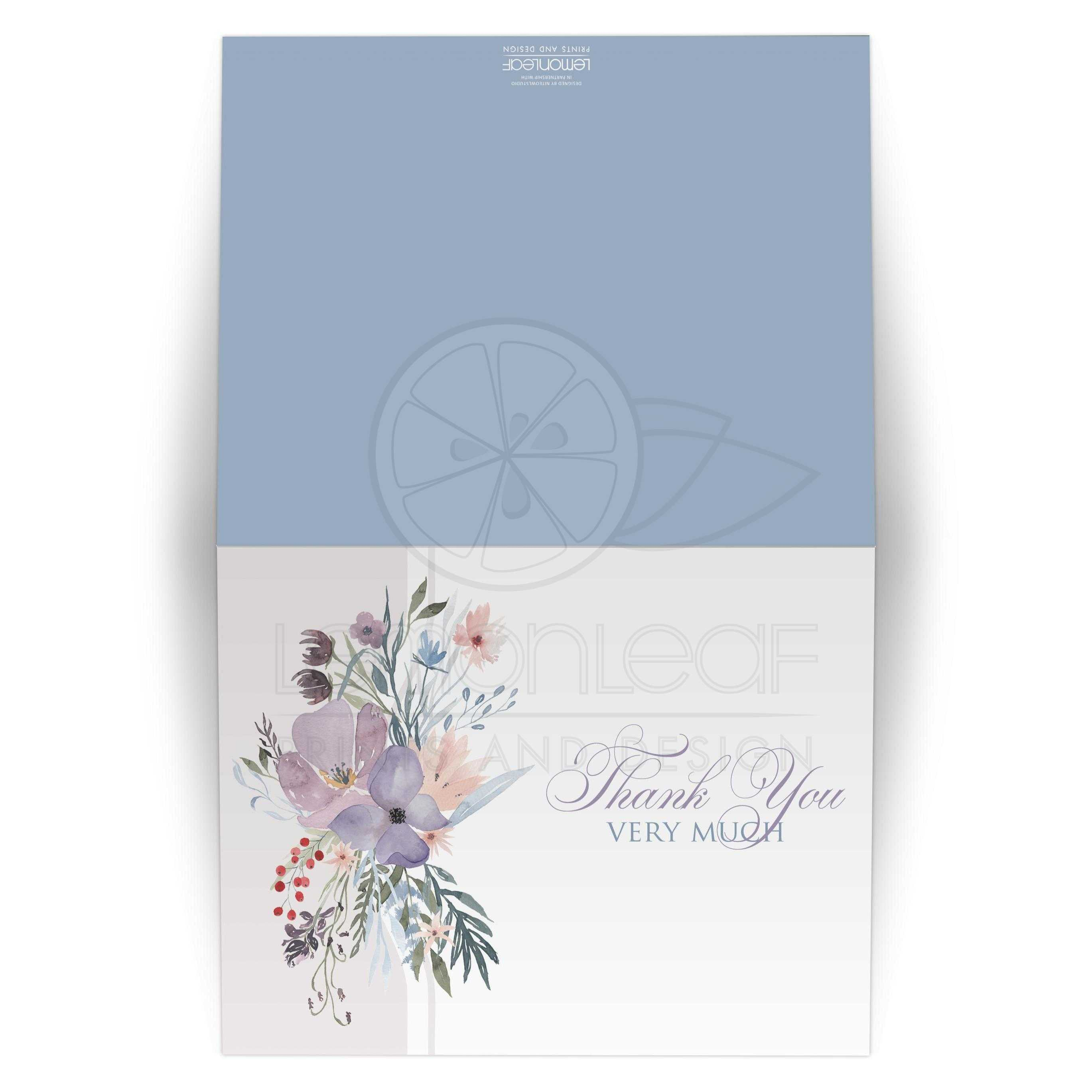bohemian wildflowers thank you card blank smoky blue plum