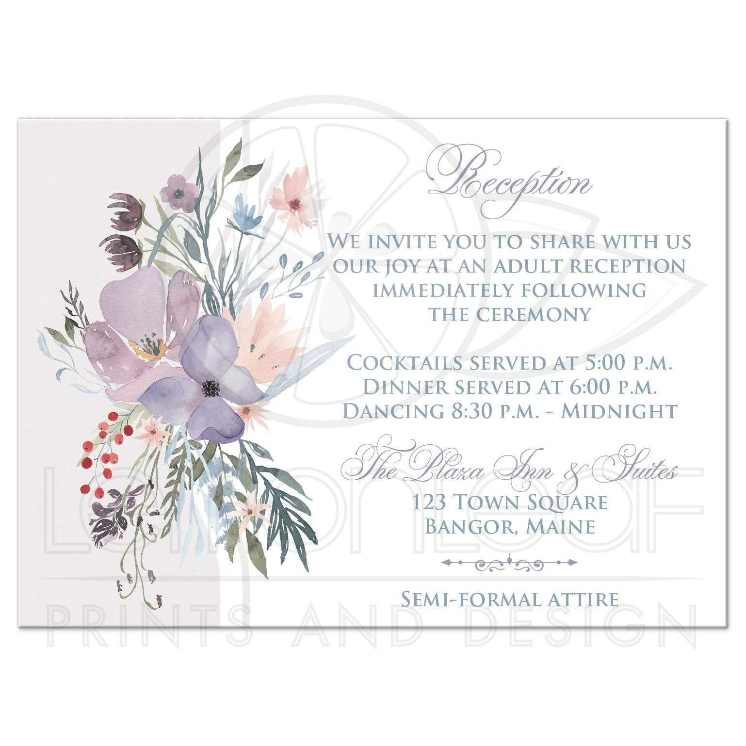 bohemian wildflowers wedding reception card smoky blue plum