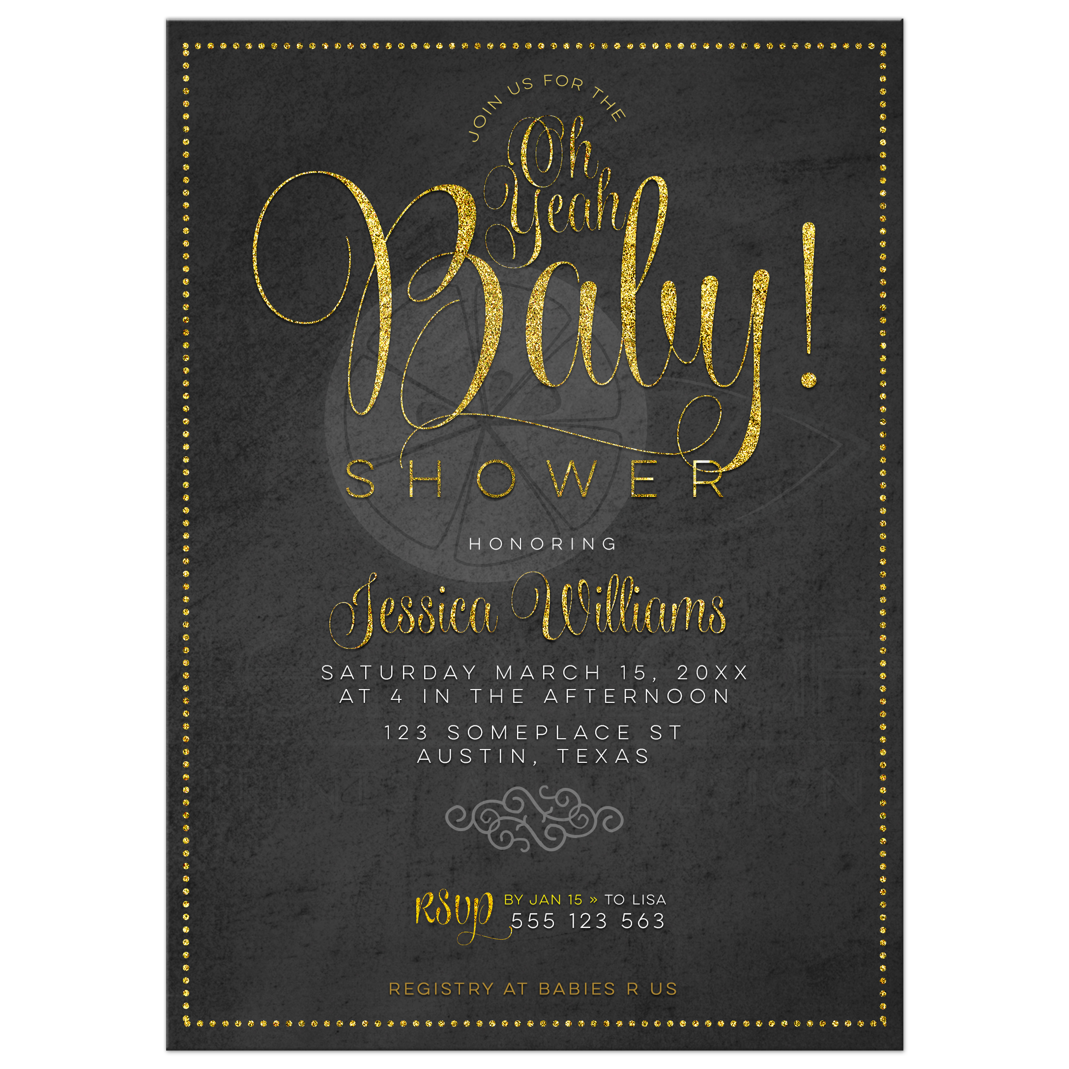 Chalkboard Baby Shower Invitation | Gold and Black Baby Shower