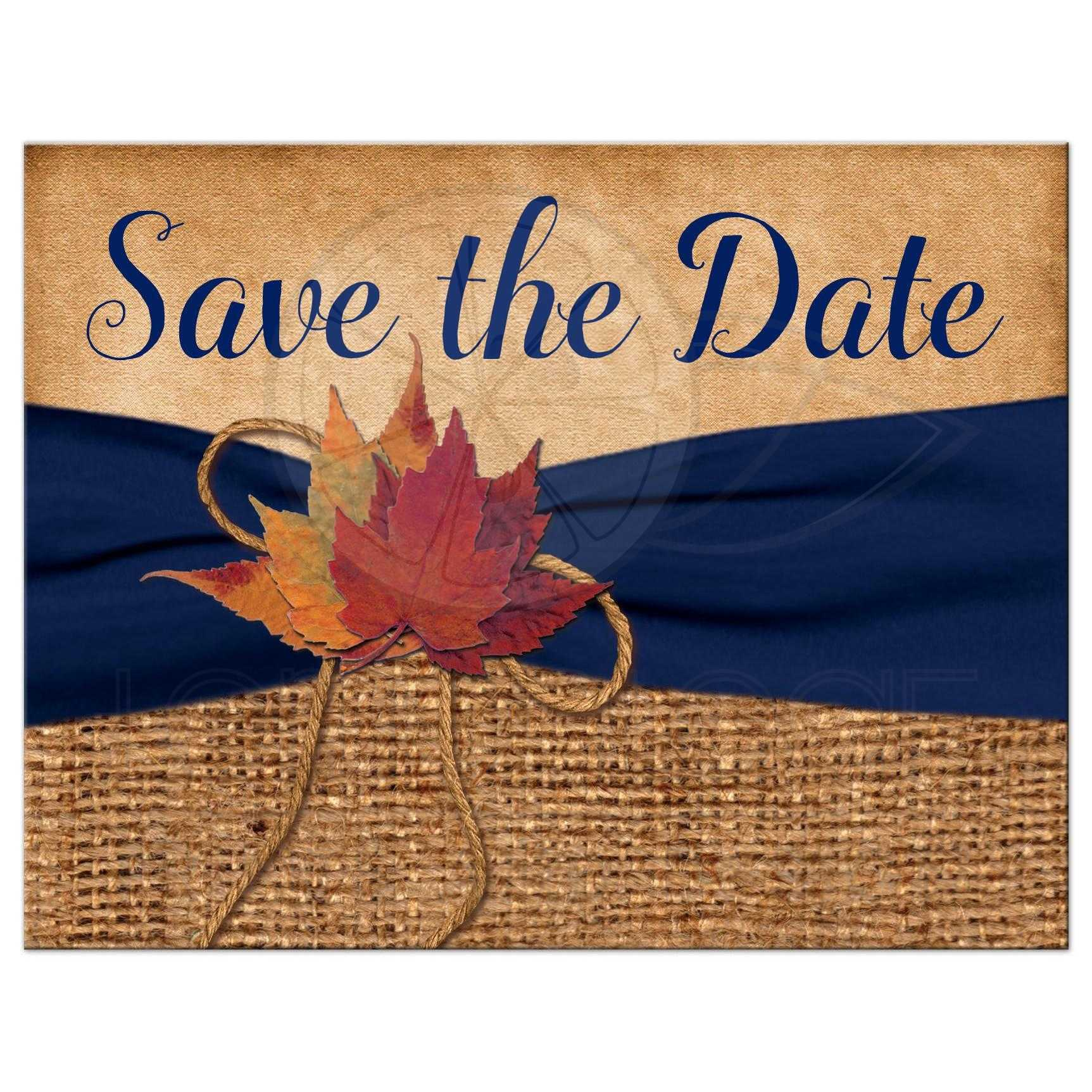 Rustic photo save the date card autumn leaves simulated burlap rustic brown burlap photo template wedding save the date postcard with a navy blue colored pronofoot35fo Images