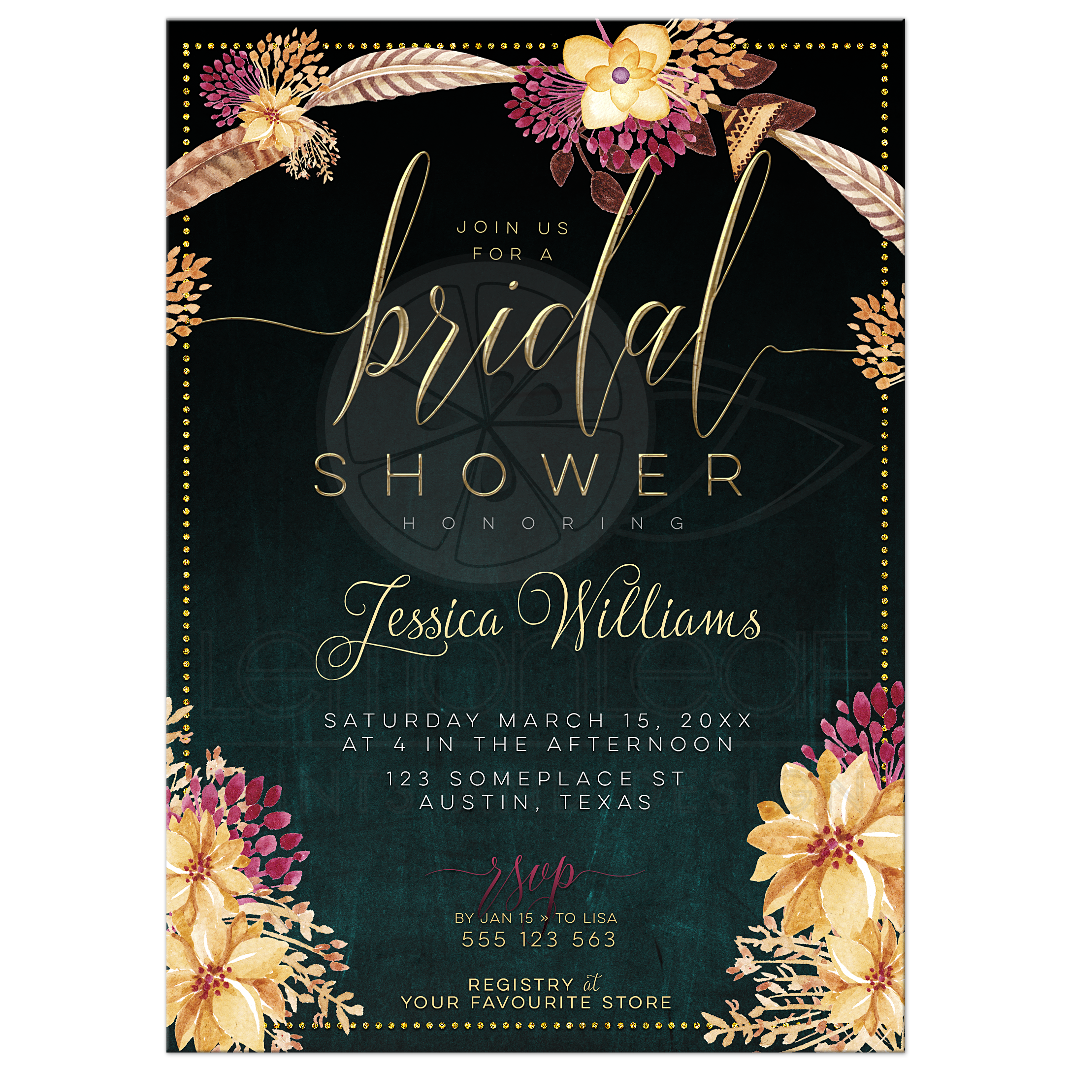 Bohemian bridal shower invite summer floral feathers bohemian bridal shower invite summer floral filmwisefo