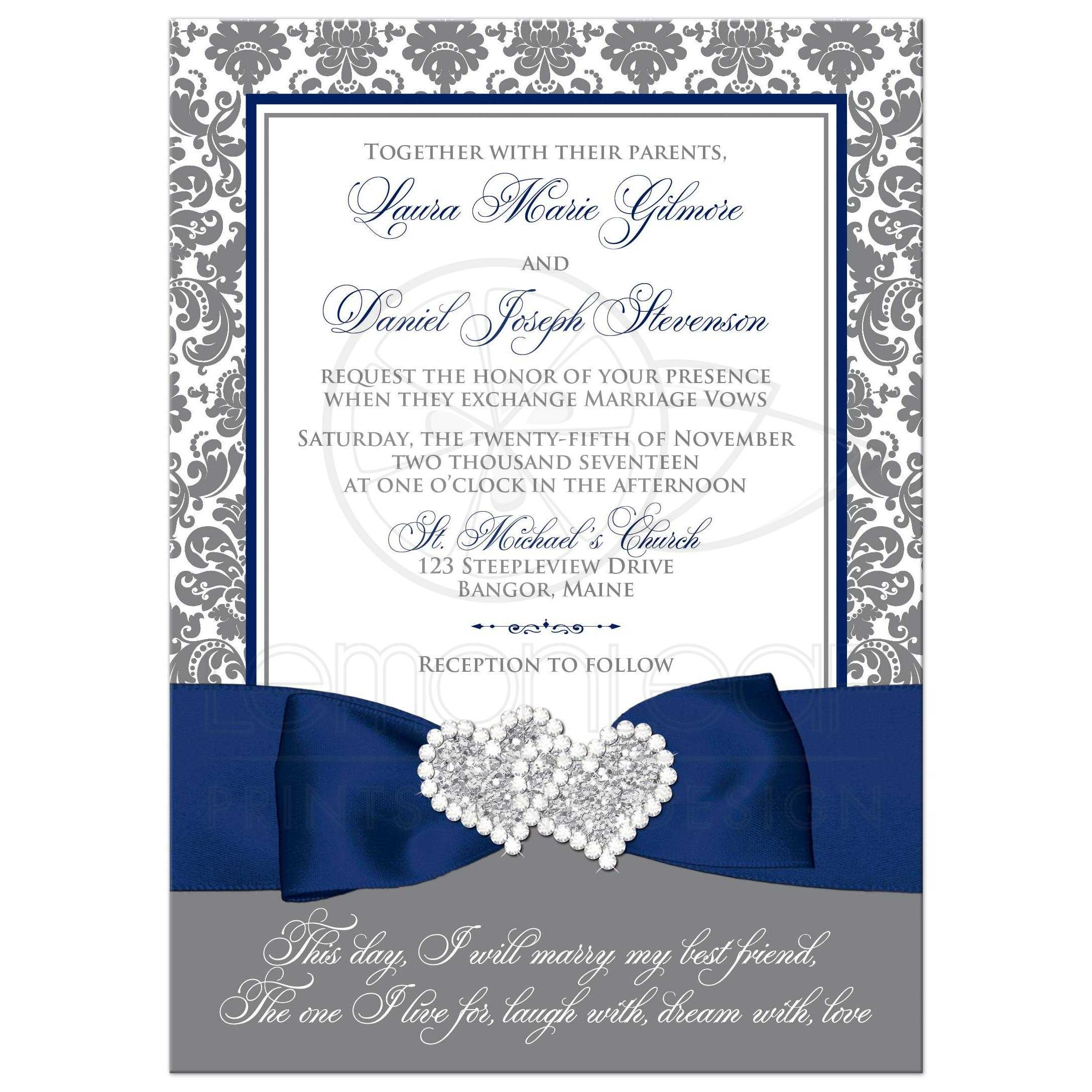 navy blue grey and white damask pattern wedding invitation with ribbon bow - Damask Wedding Invitations