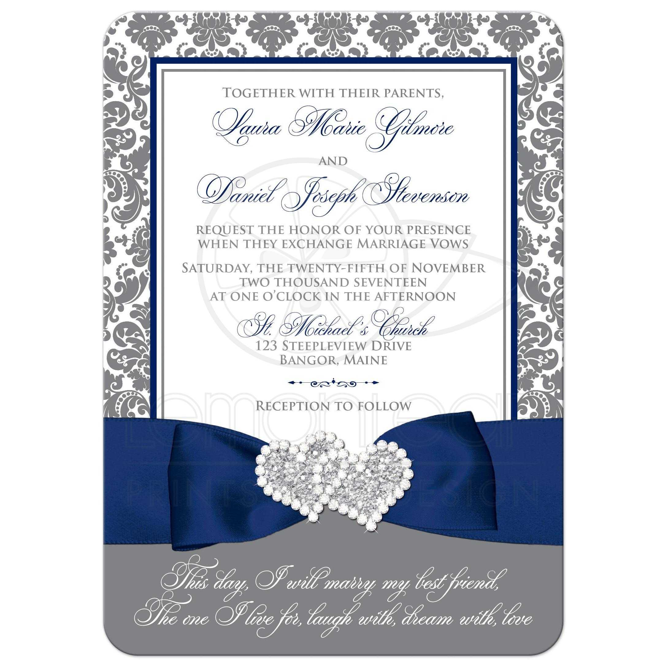 Gray Navy And White Bedroom: Navy Blue, White, And Gray Damask Wedding Invitation