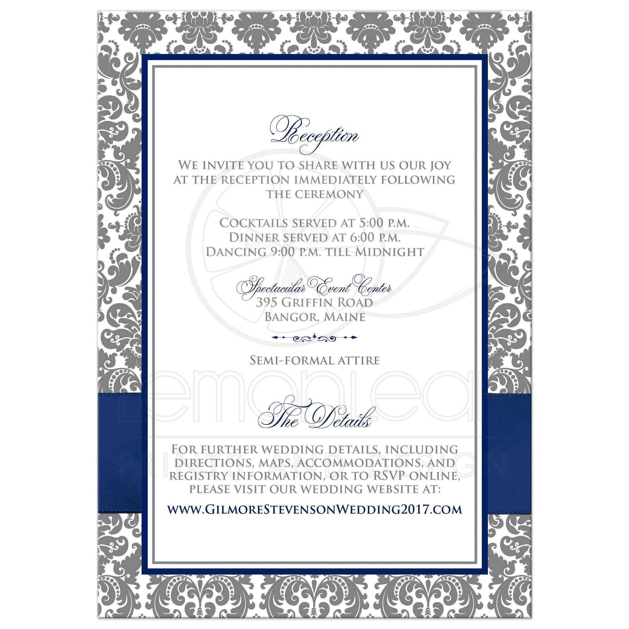 Navy Blue White and Gray Damask Wedding Invitation Printed Navy