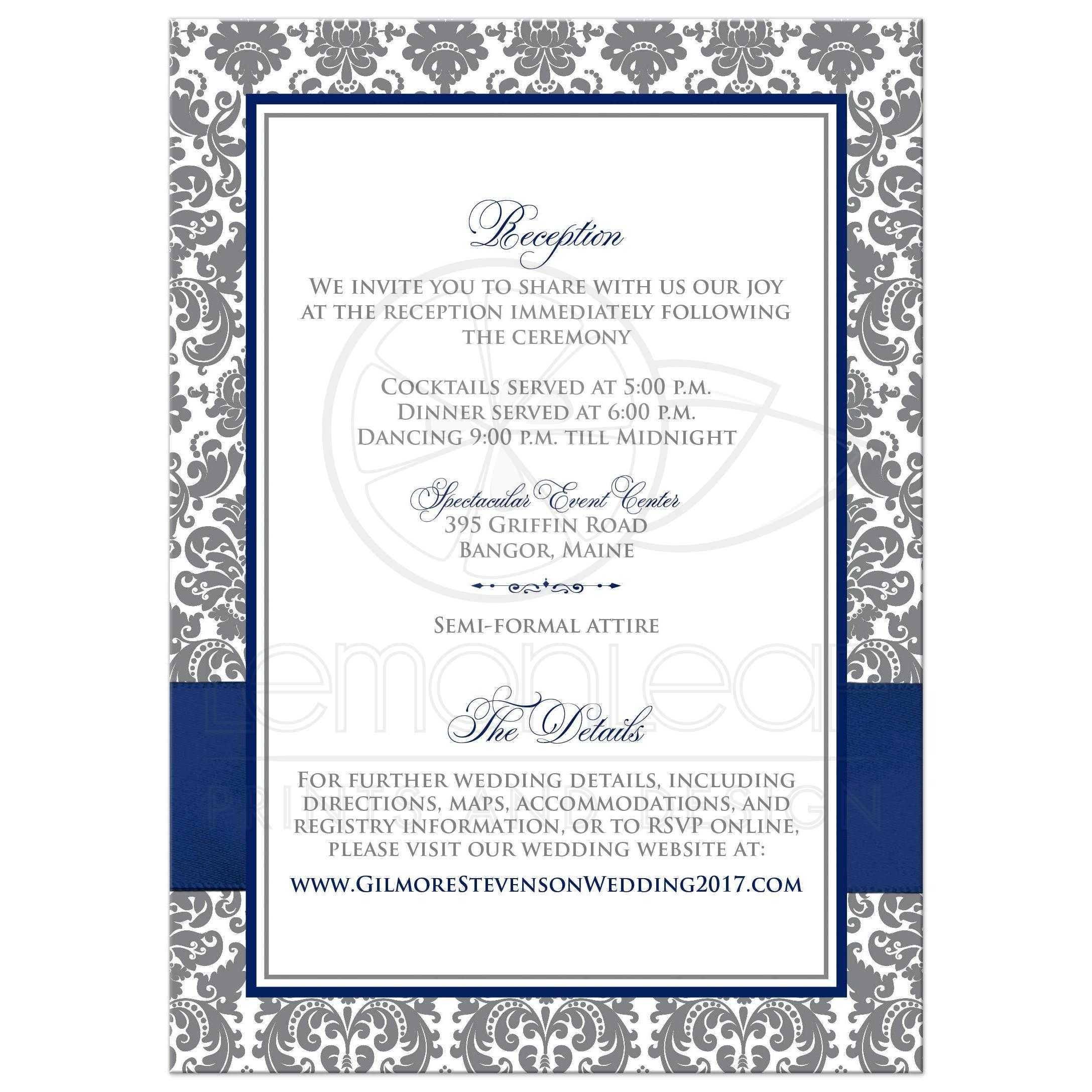 Navy Blue, White, and Gray Damask Wedding Invitation   Printed Navy ...