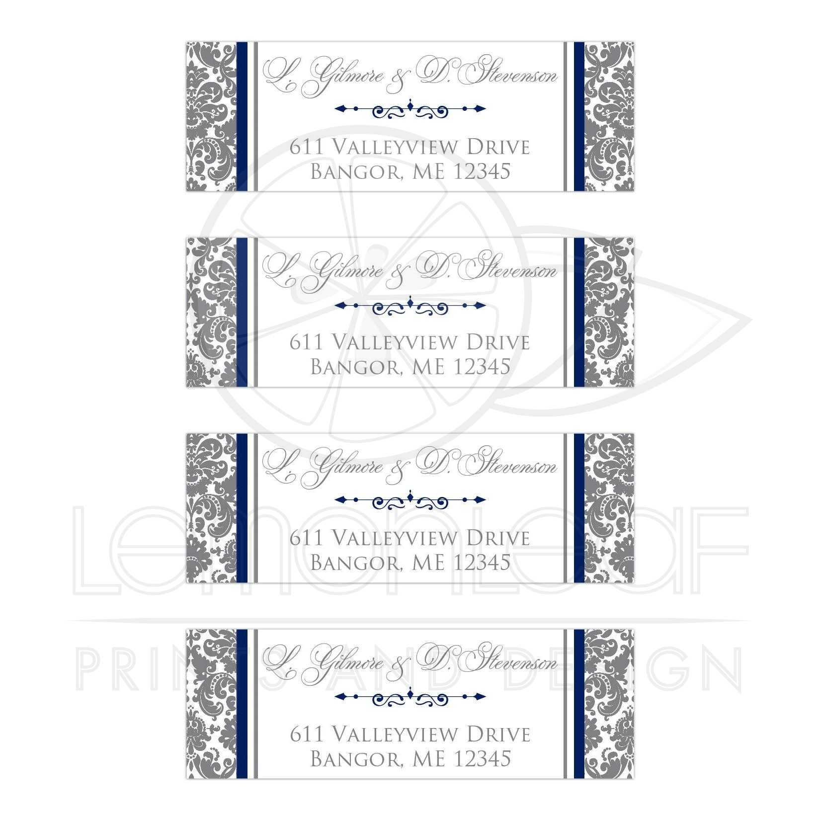 Personalized Navy Blue, White, and Gray Damask Pattern Address ...