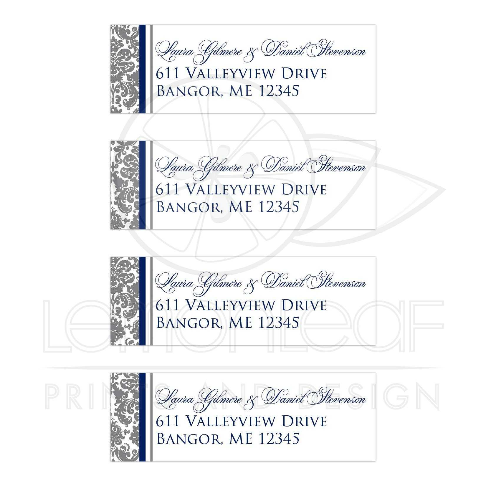 gray white navy blue damask personalized wedding address labels