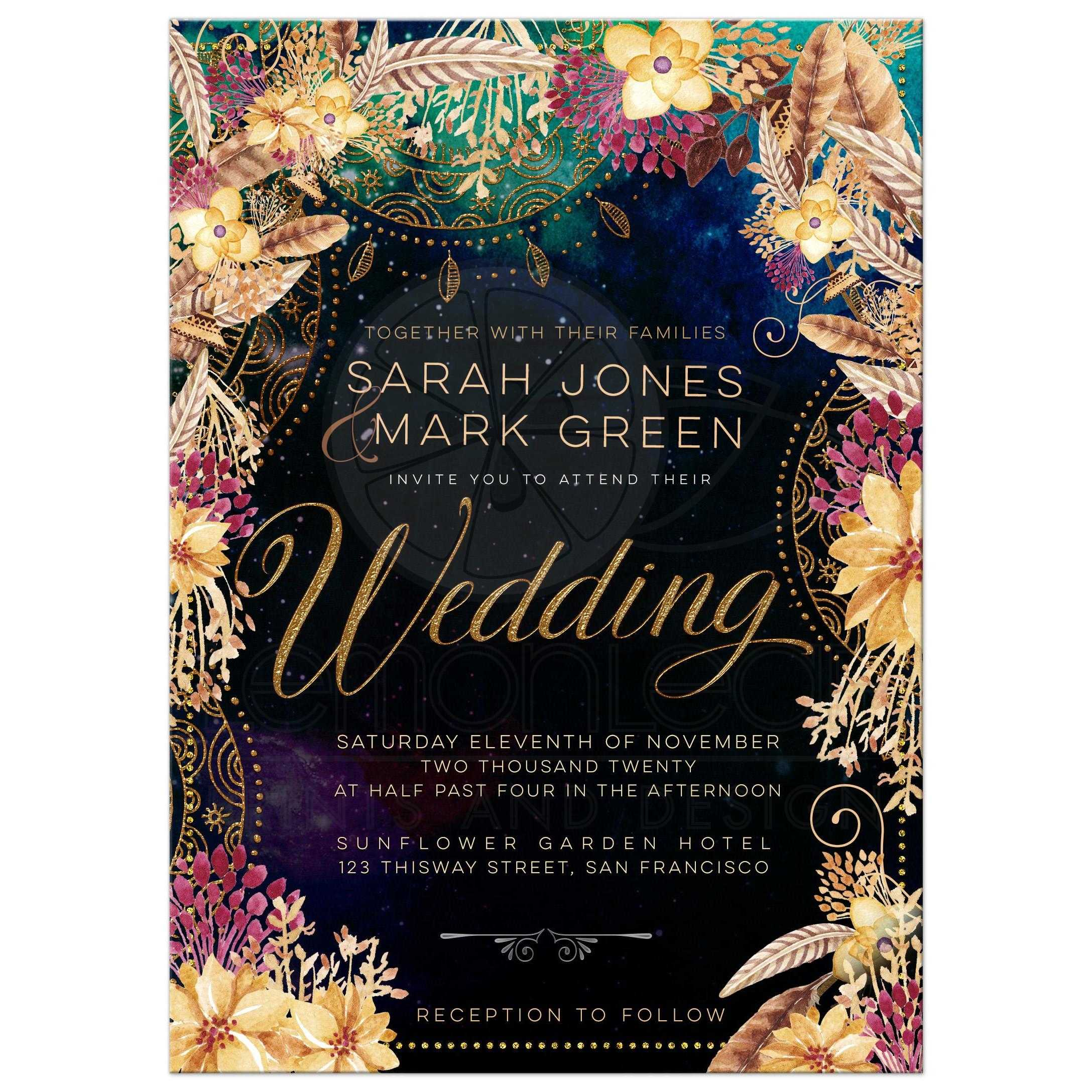 Bohemian Wedding Invitation Mandala Floral Feathers