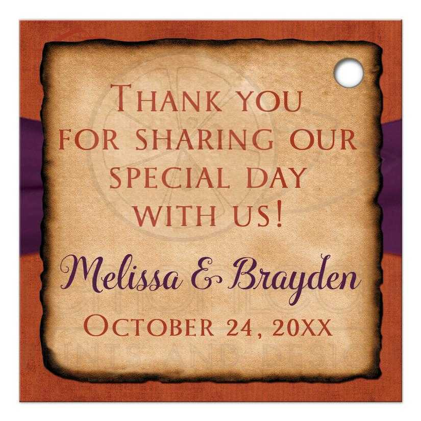 Personalized Rustic Autumn Wedding Favor Tag In Fall Colors Of Burnt Orange Gold