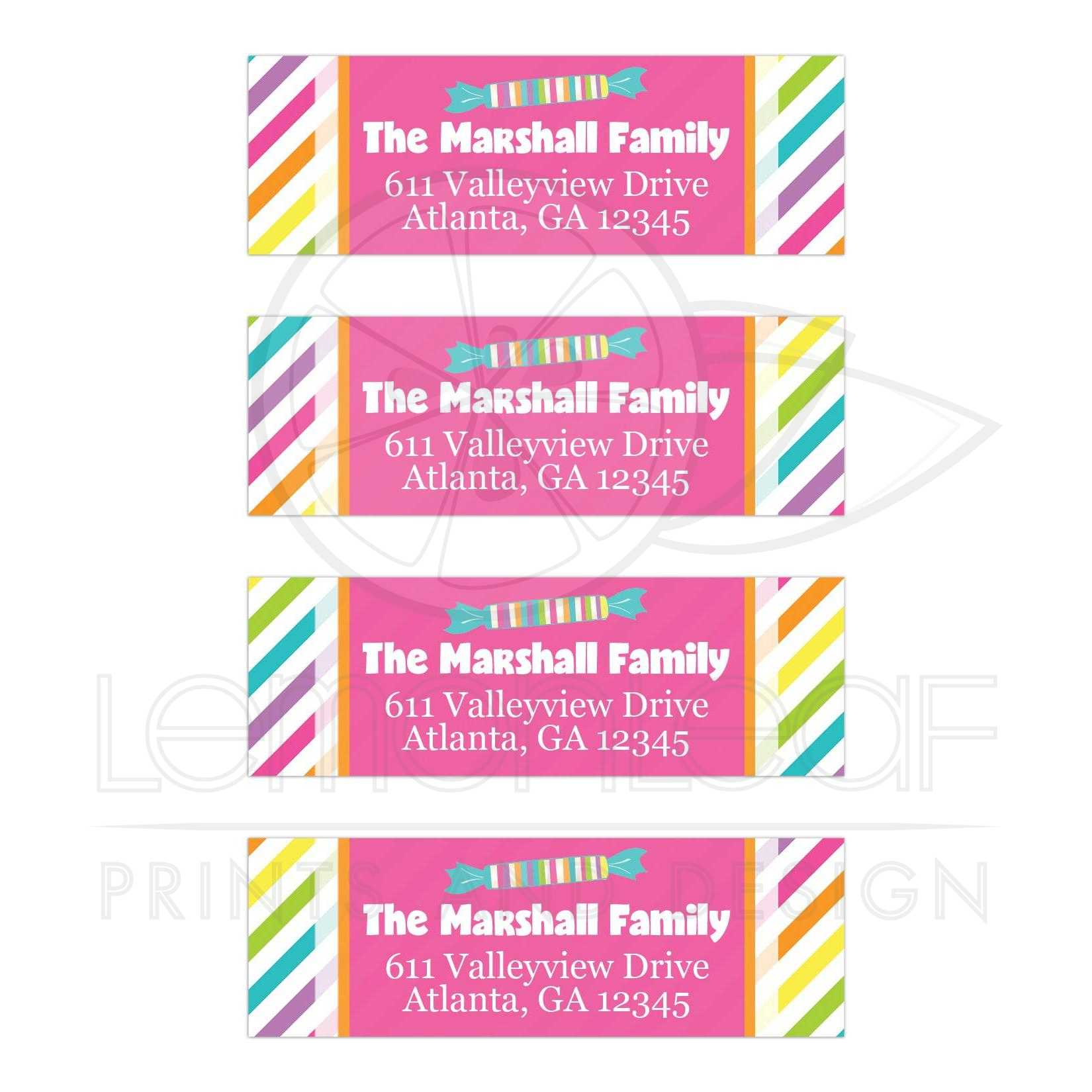 Personalized Candies Address Labels | Pink, White, Striped
