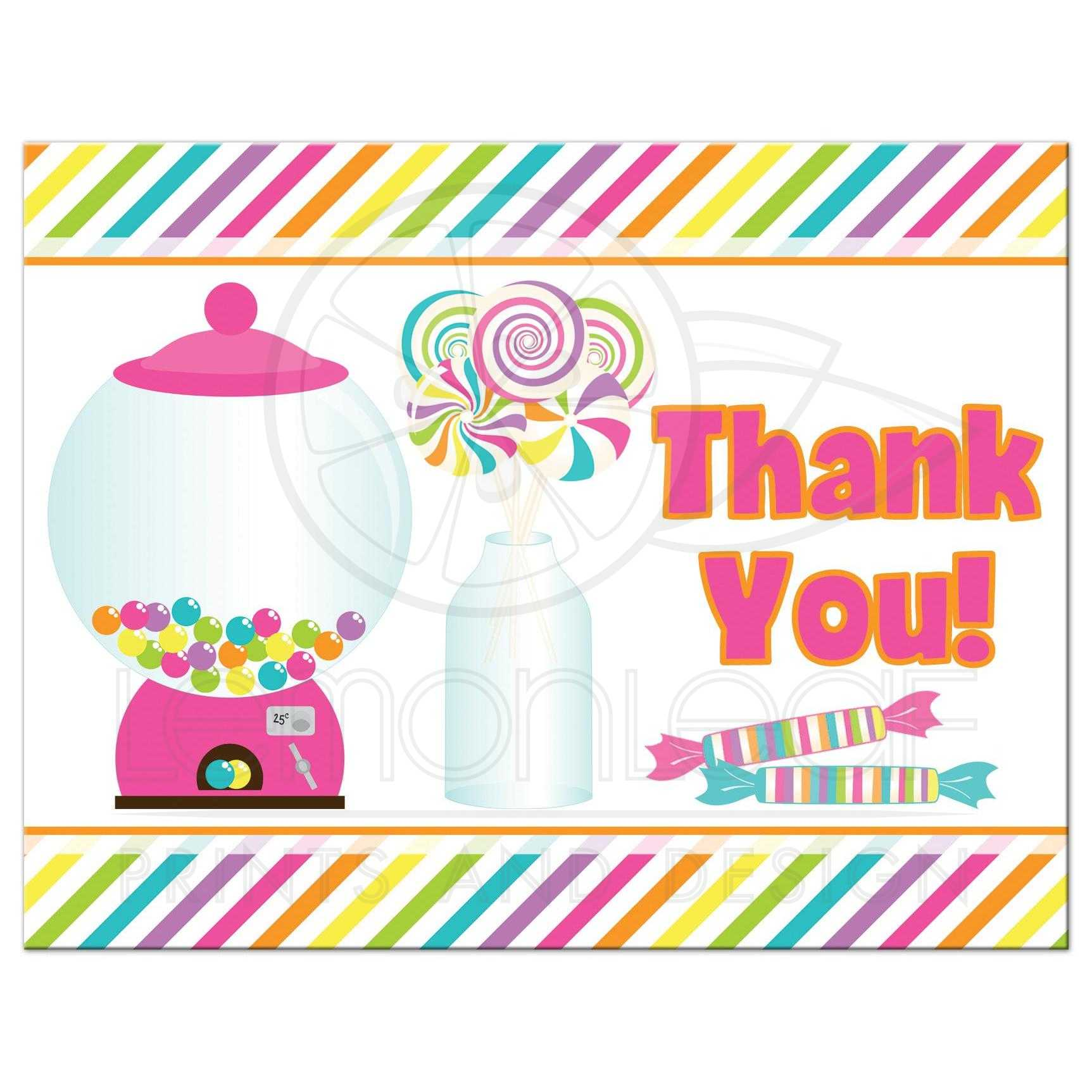 Candyland Thank You Note for Bat Mitzvah | Brightly ...