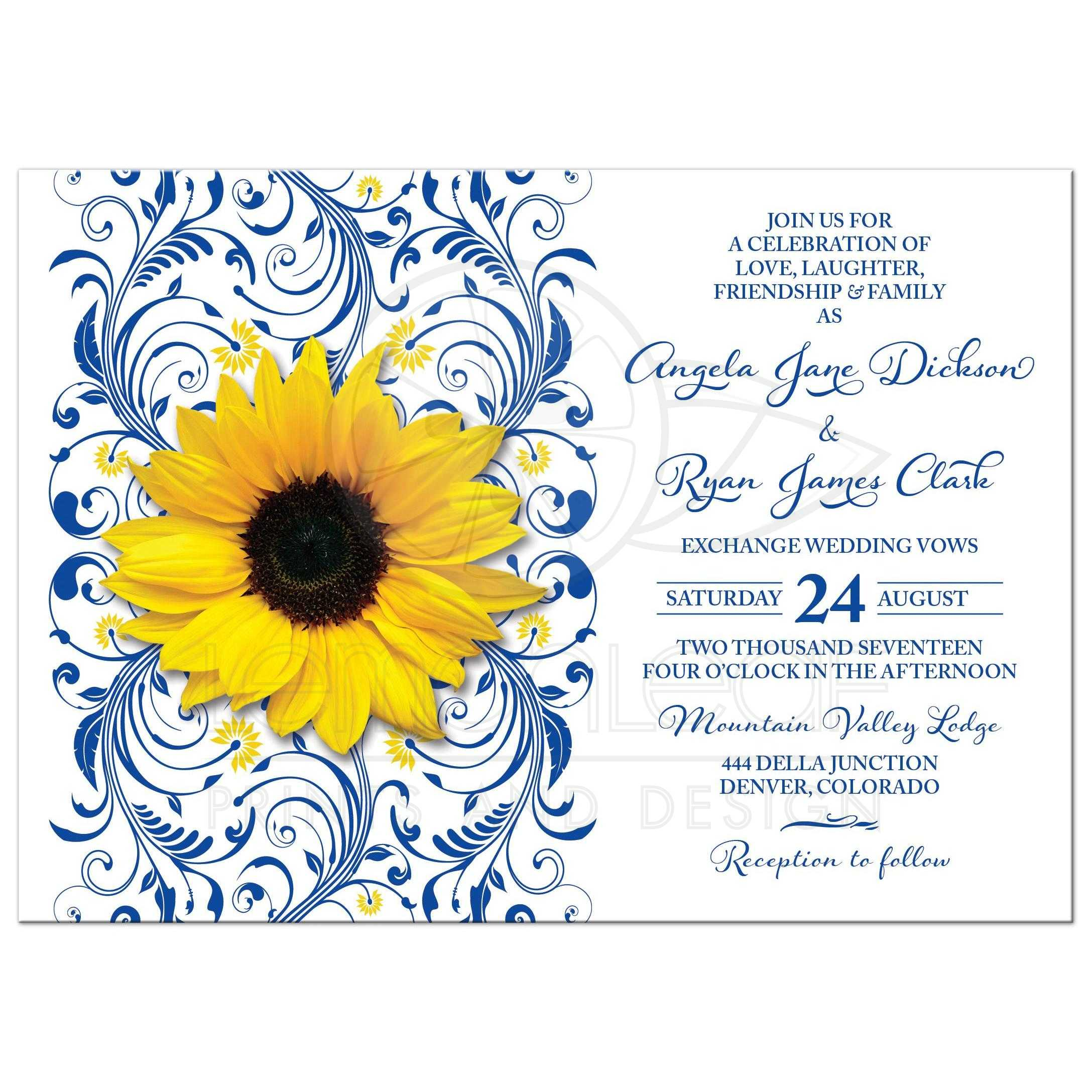 Royal Blue Sunflower Wedding Invitation Royal Blue and Yellow Floral