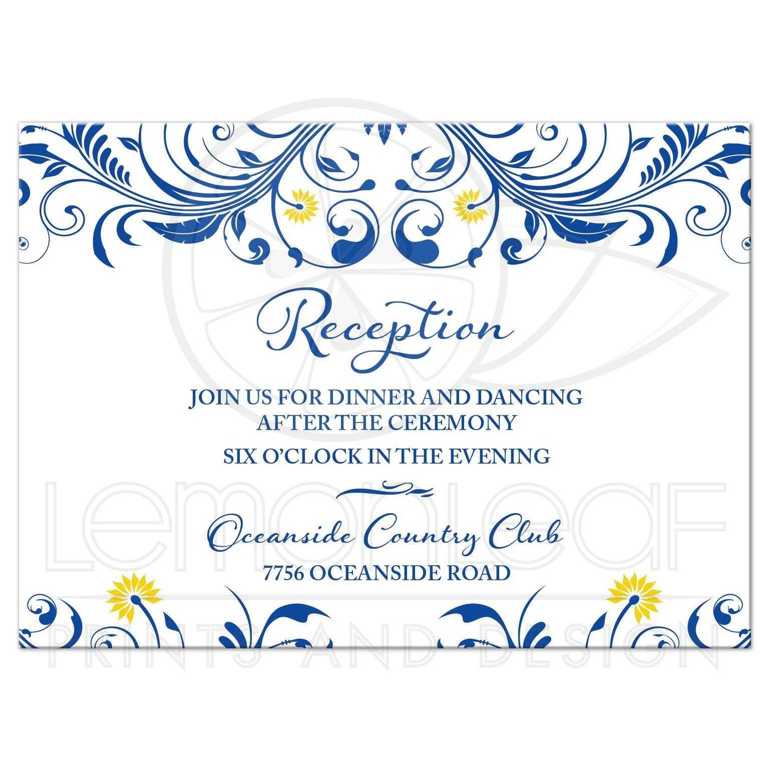 Royal Blue Yellow Floral Wedding Reception Enclosure Card