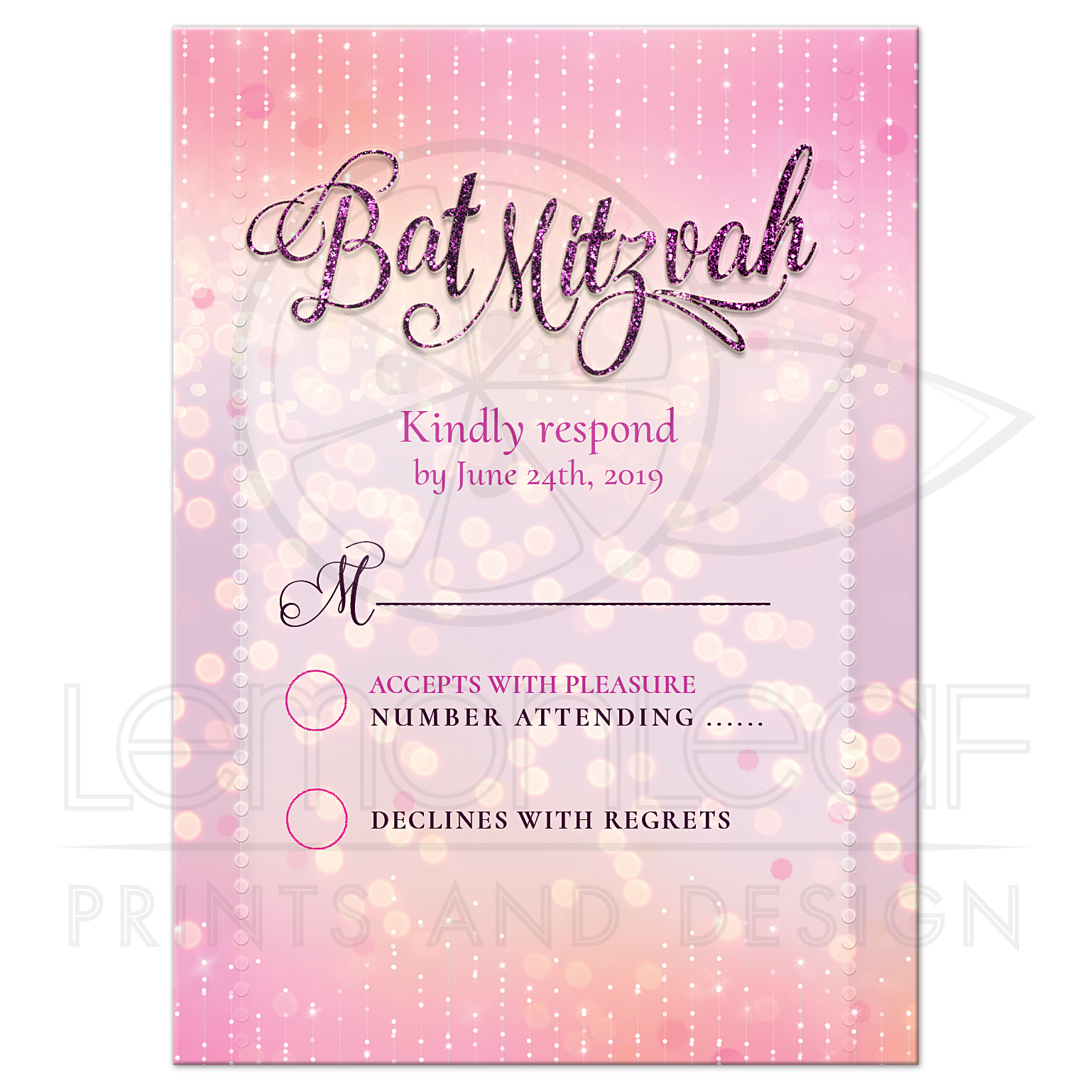 Pink And White Bat Mitzvah Rsvp