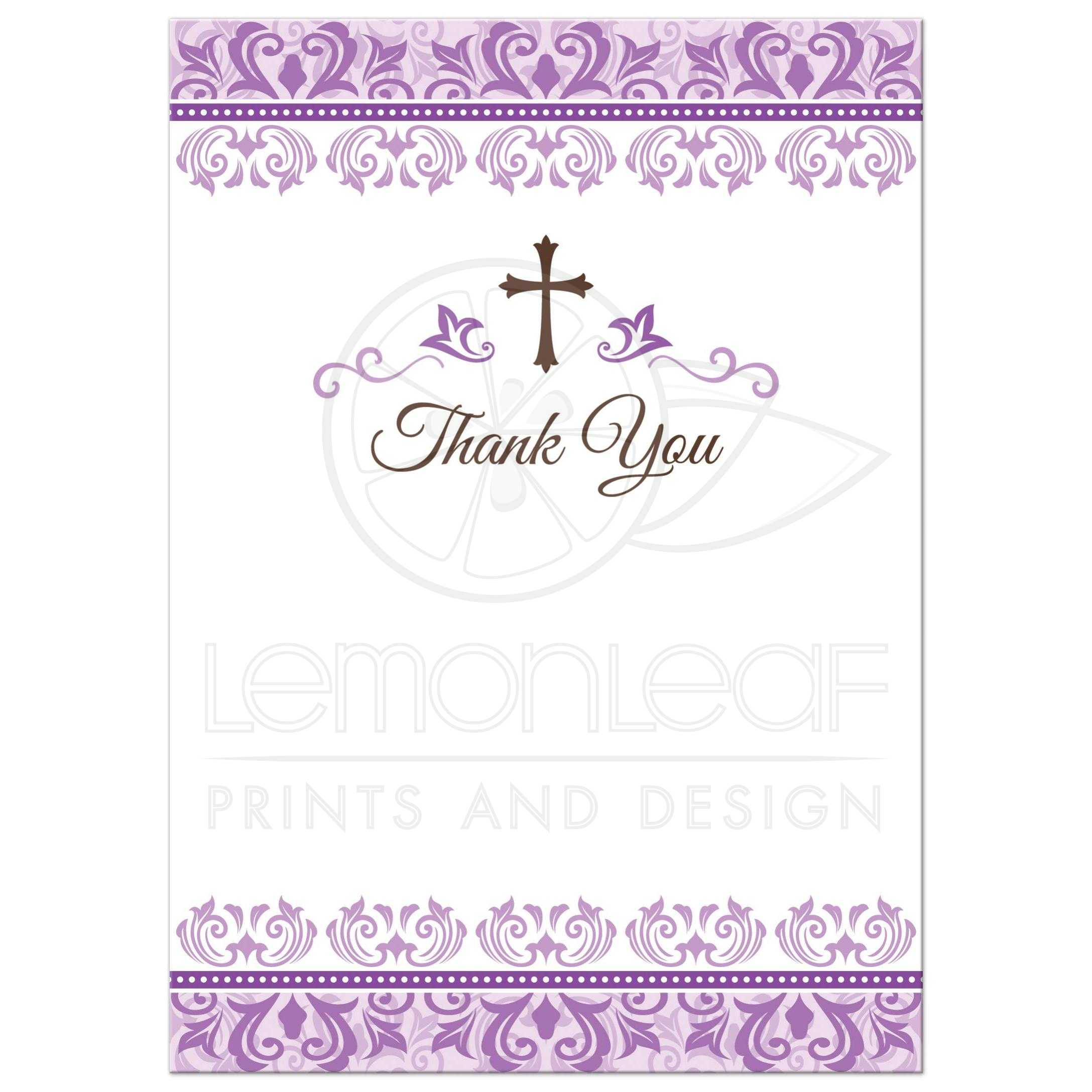 First Communion Thank You Notes With Purple Ornate Damask Borders And Brown Cross