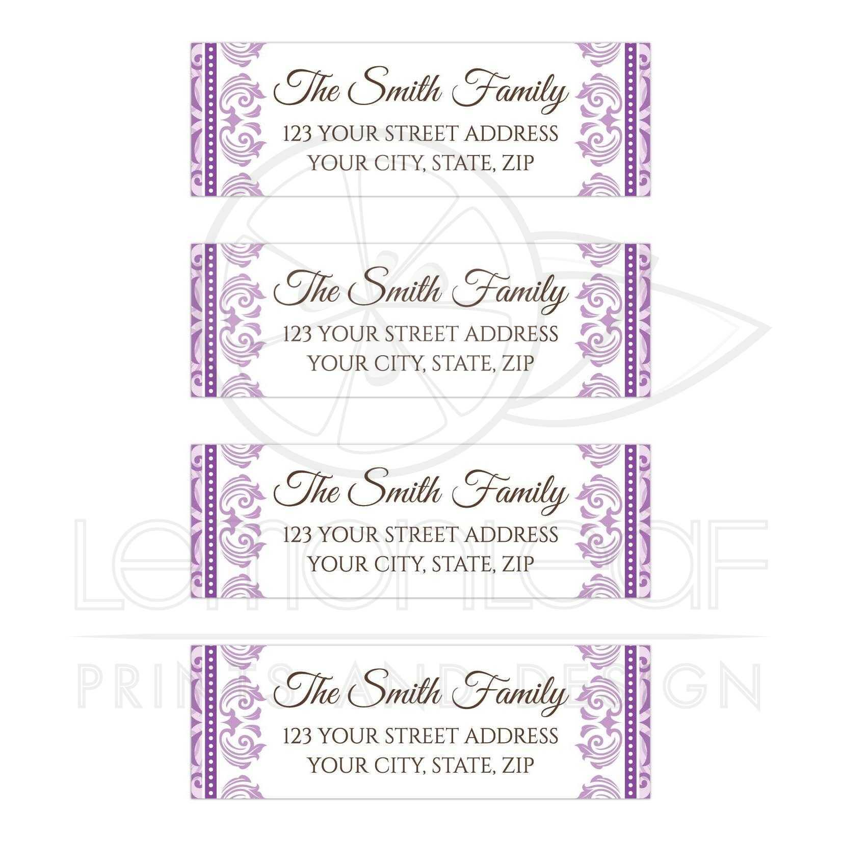 elegant purple mailing or return address labels with purple damask borders