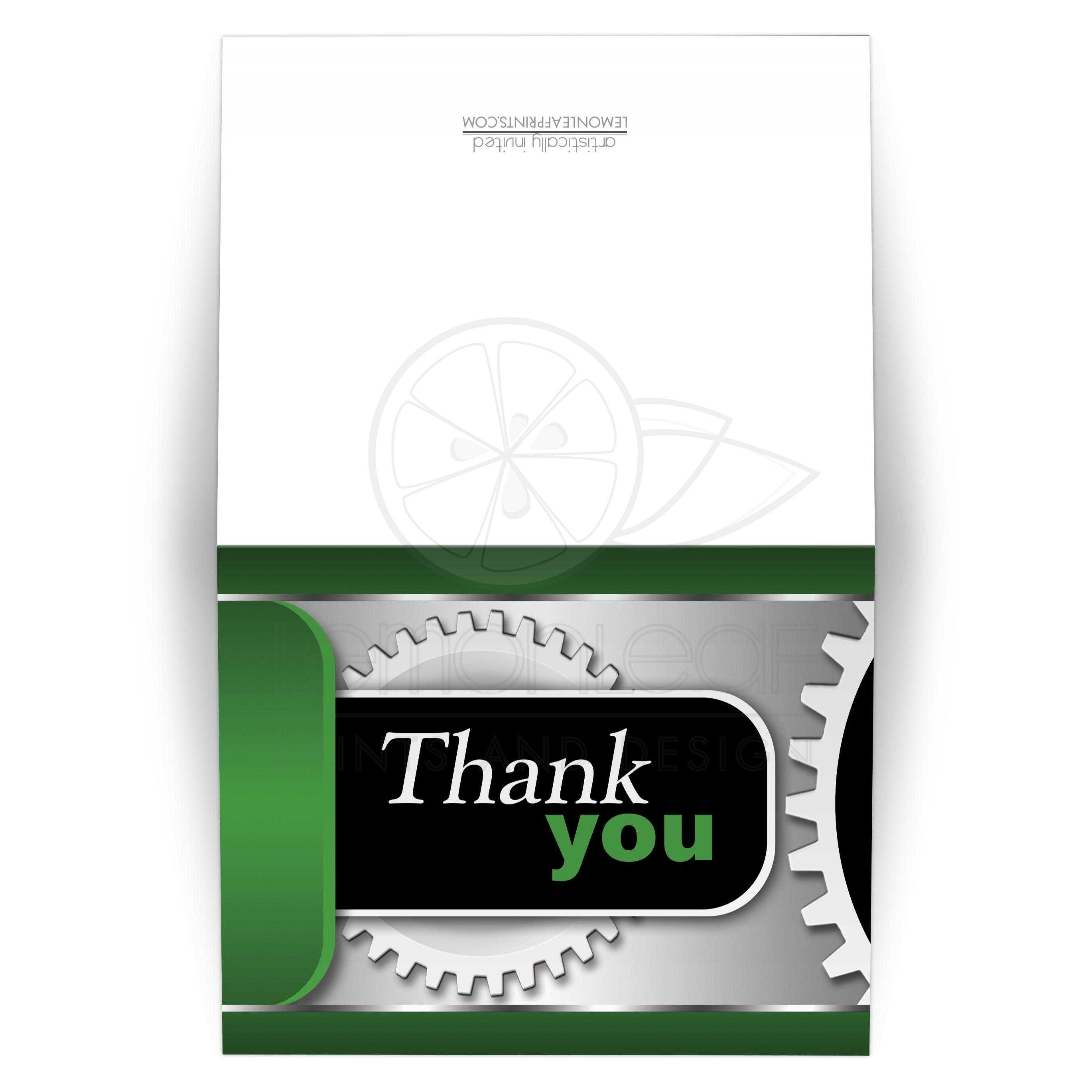 Thank You Cards Mechanical Gears Green And Black