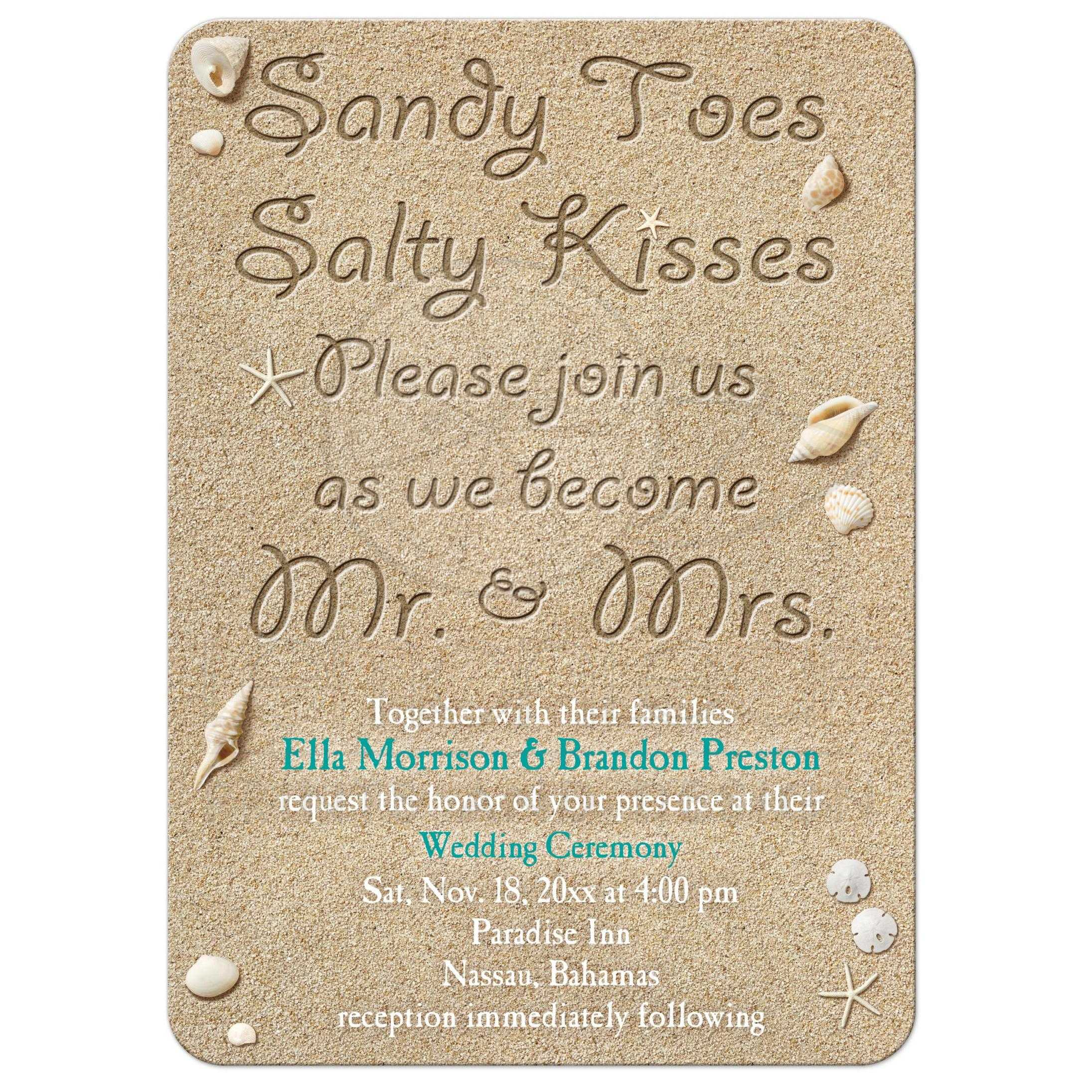 Destination Wedding Quotes For Invitations: Beach Sandy Toes Salty Kisses