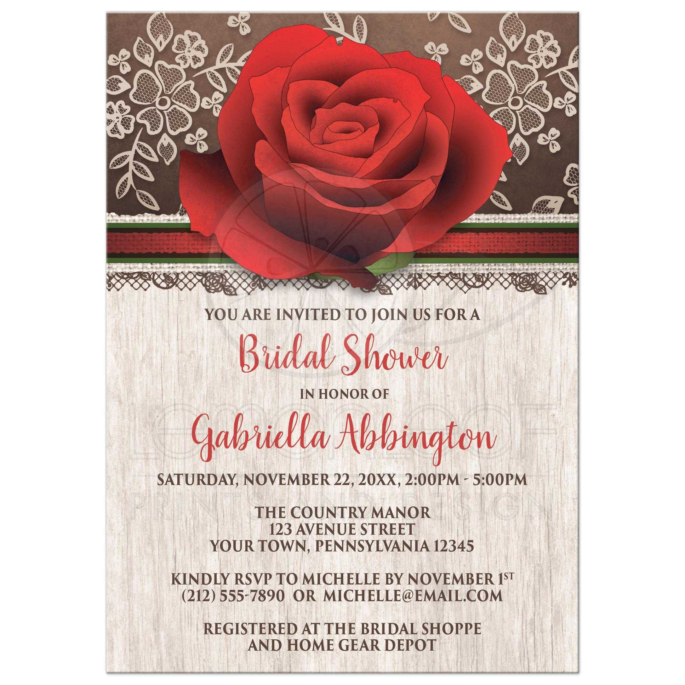 Bridal Shower Invitations   Rustic Wood Lace Red Rose Brown