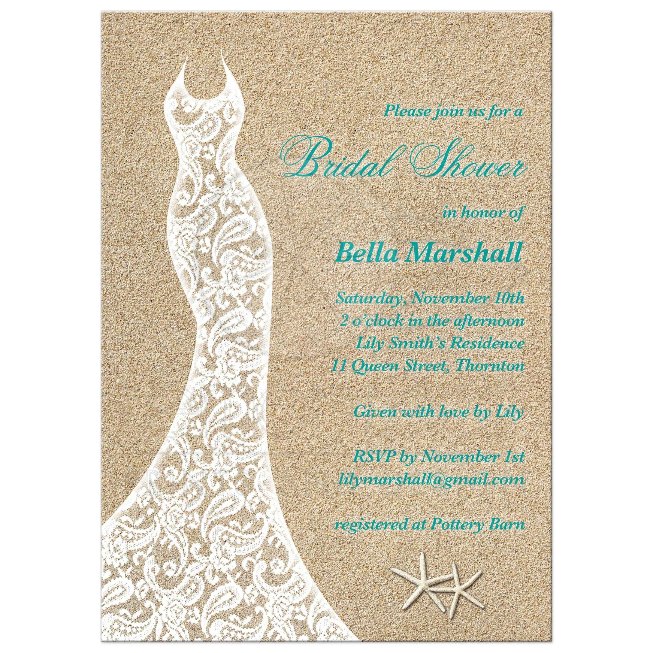 Bridal shower invitation beautiful beach turquoise lacy wedding dress bridal shower invitation with turquoise type on a beach sand background filmwisefo