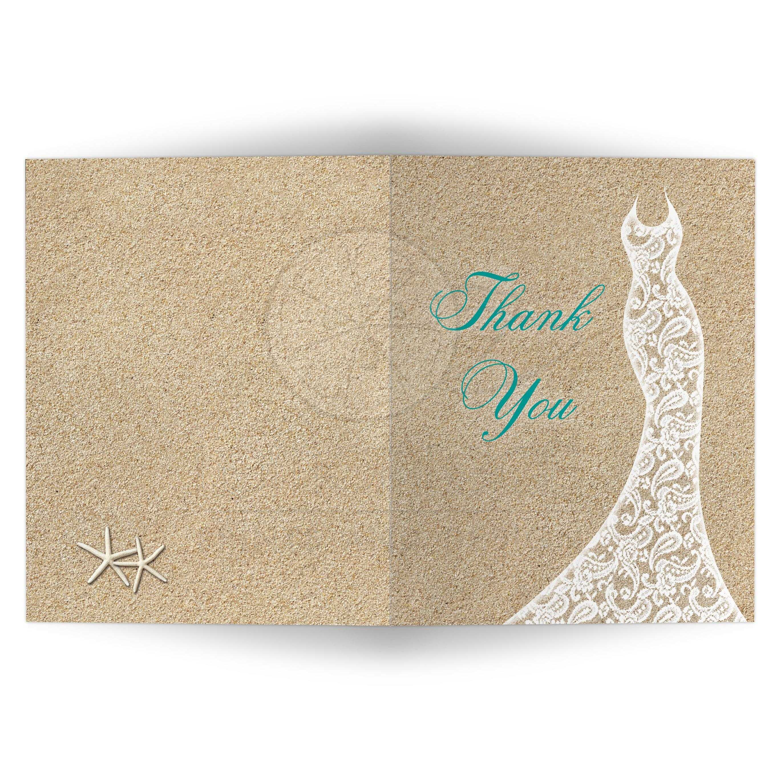 beautiful beach bridal shower thank you card with turquoise type