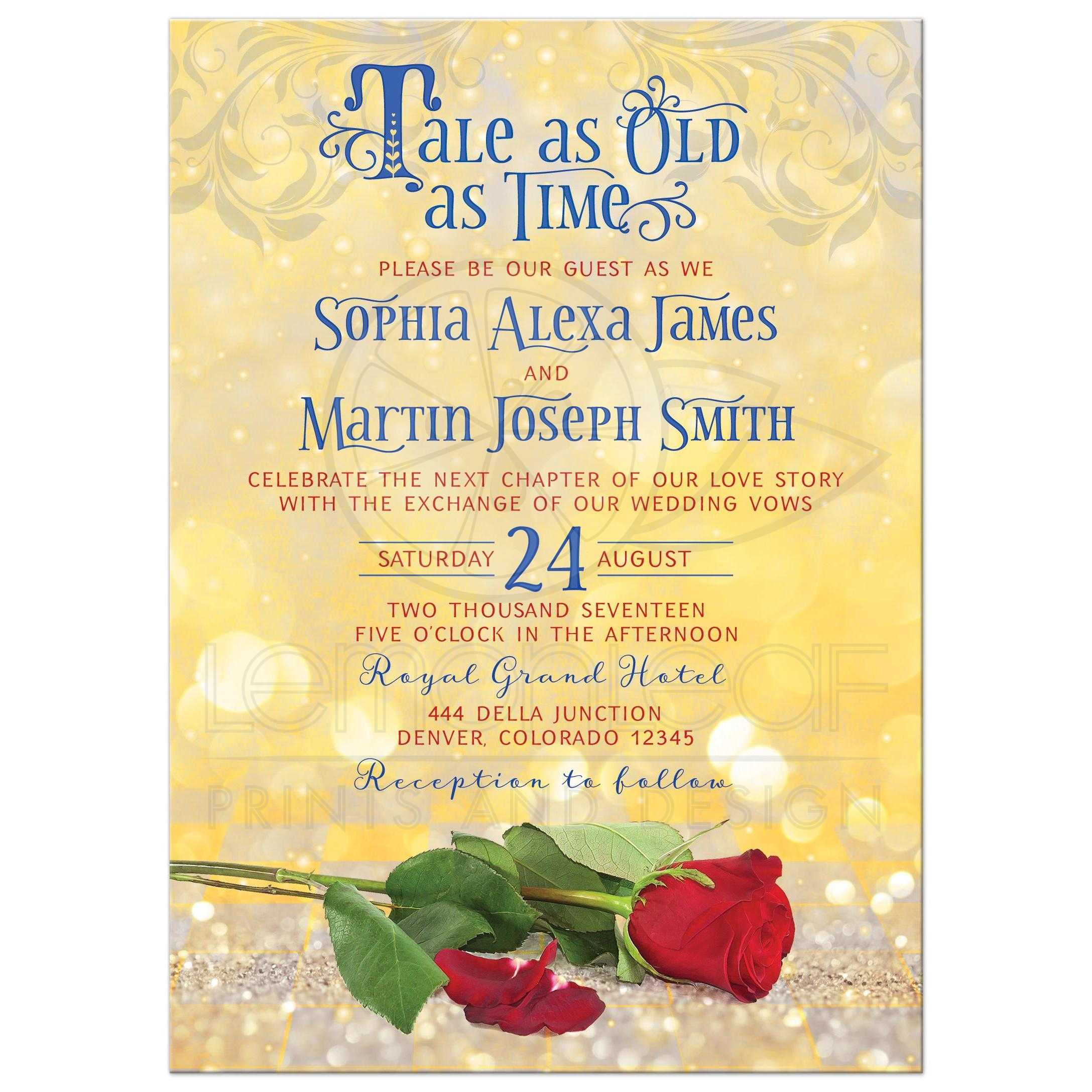 Fairytale Tale as Old as Time Wedding Invitation