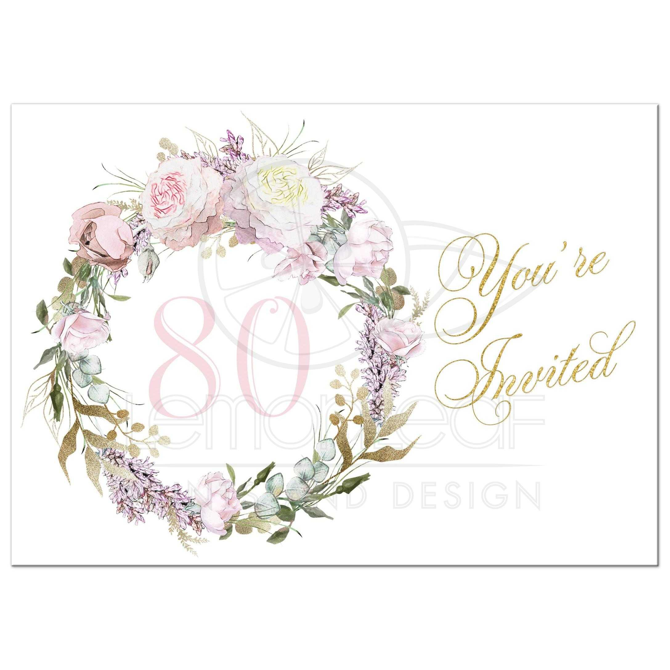 Blush Pink Gold Roses 80th Birthday Invitation