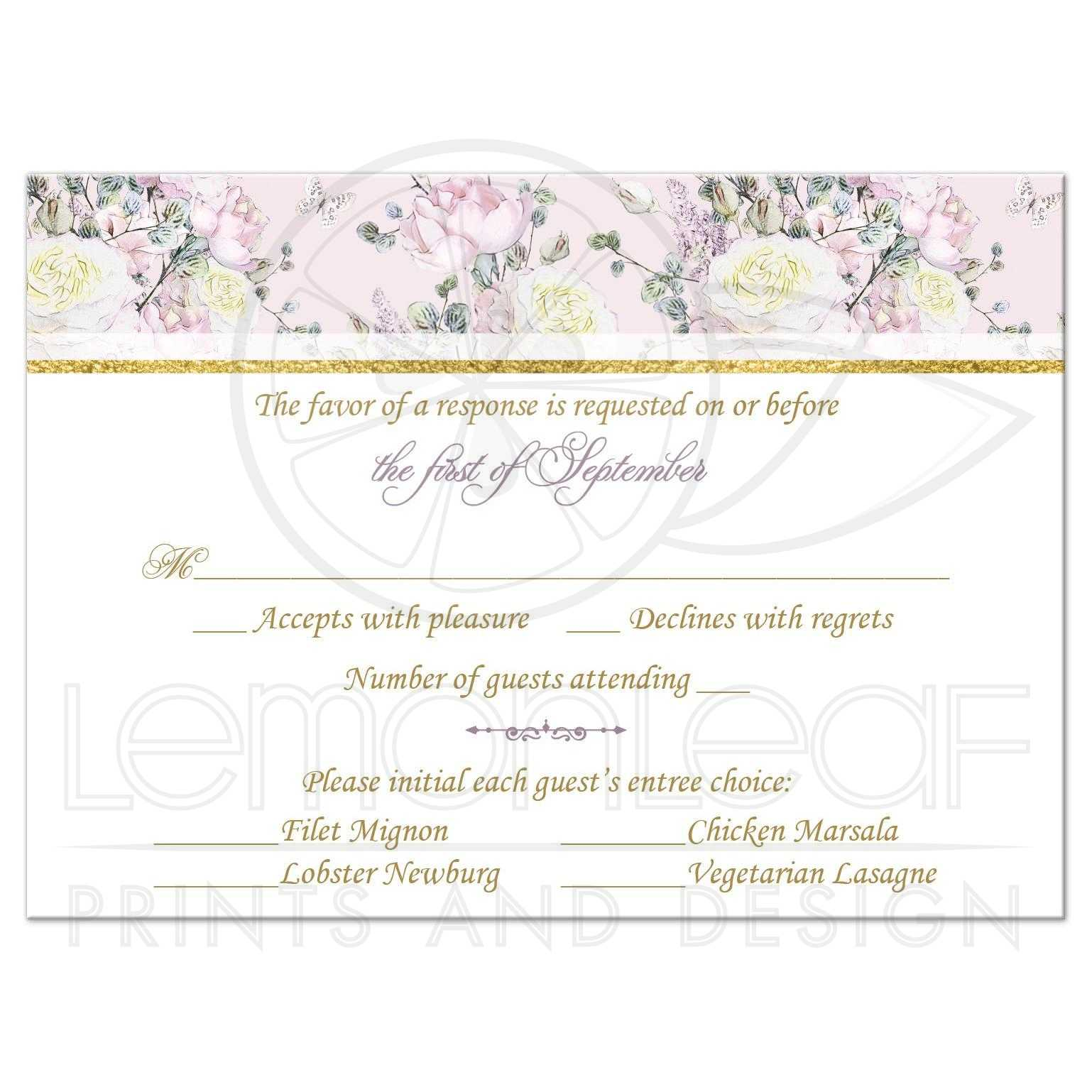 Response Card With Roses In Blush Pink Creamy Yellow And Mauve Pale Purple